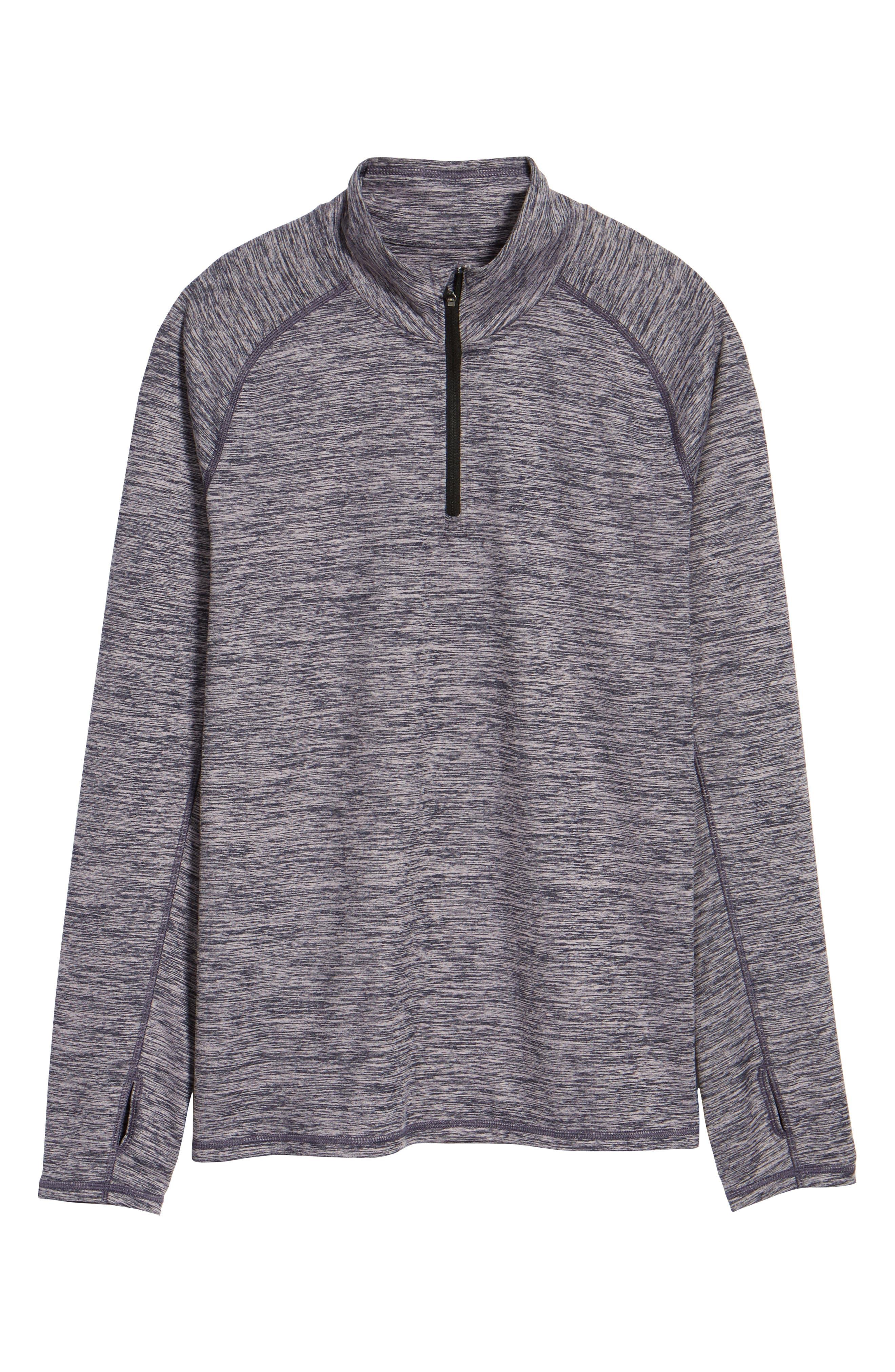 Celsian Quarter Zip Pullover,                             Alternate thumbnail 5, color,                             Purple Navy Melange