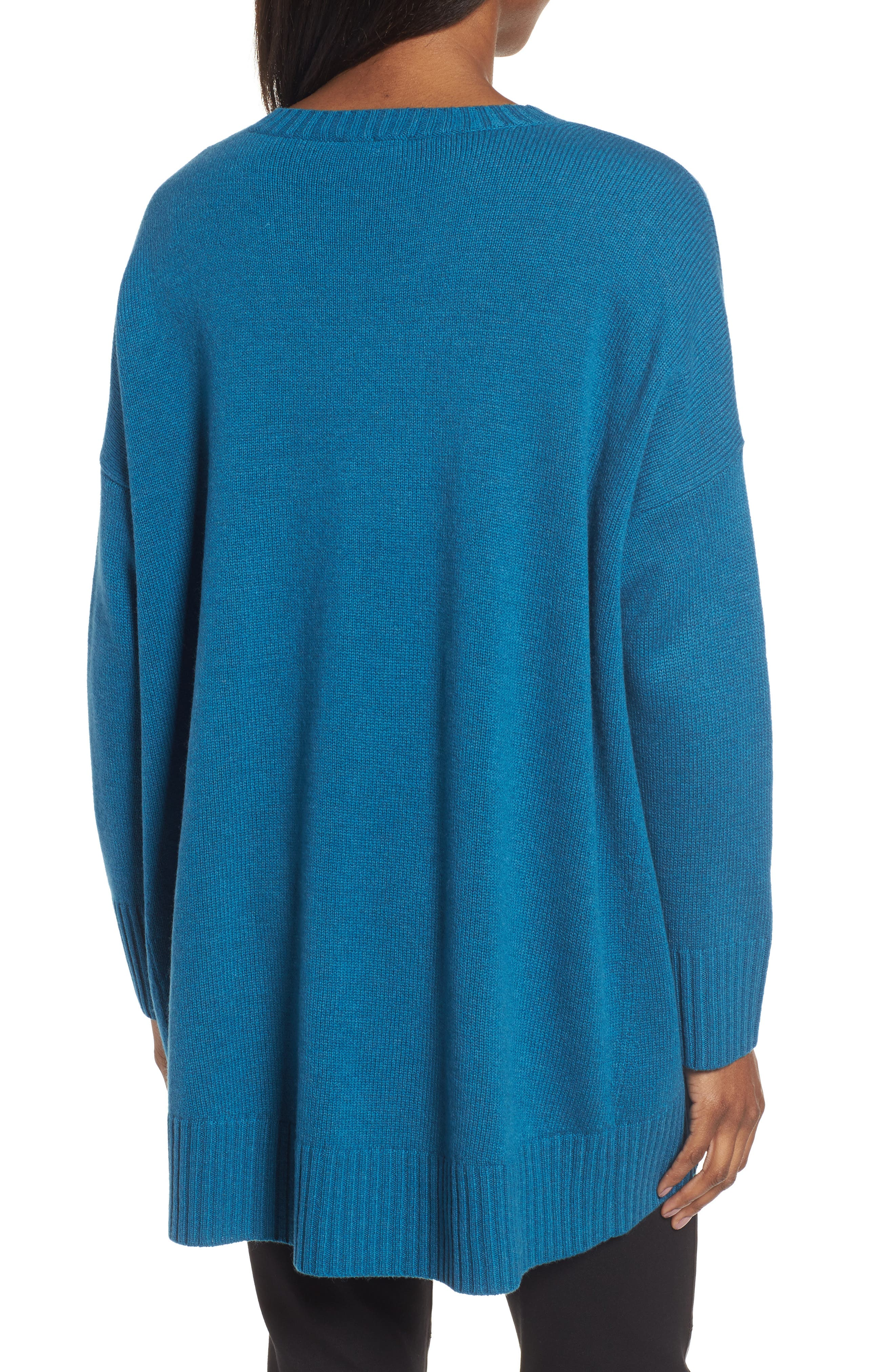 Cashmere & Wool Blend Oversize Sweater,                             Alternate thumbnail 2, color,                             Nile