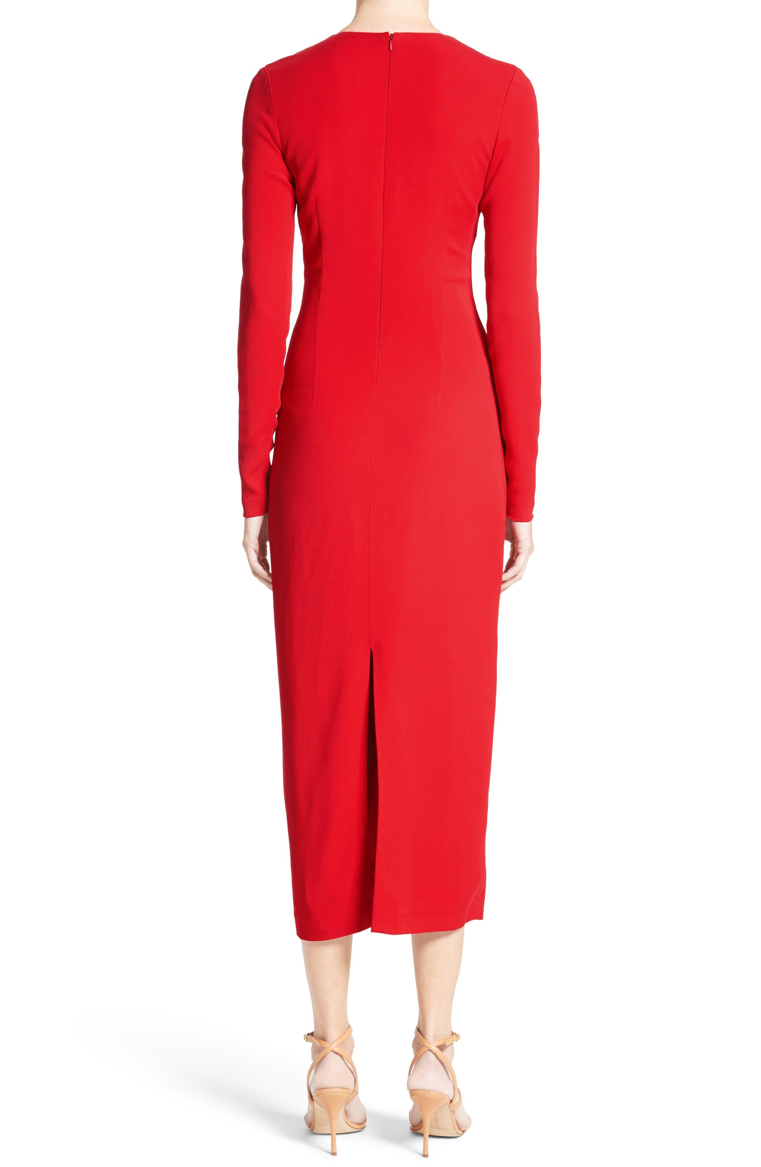 Cowl Neck Pencil Dress,                             Alternate thumbnail 2, color,                             Poppy