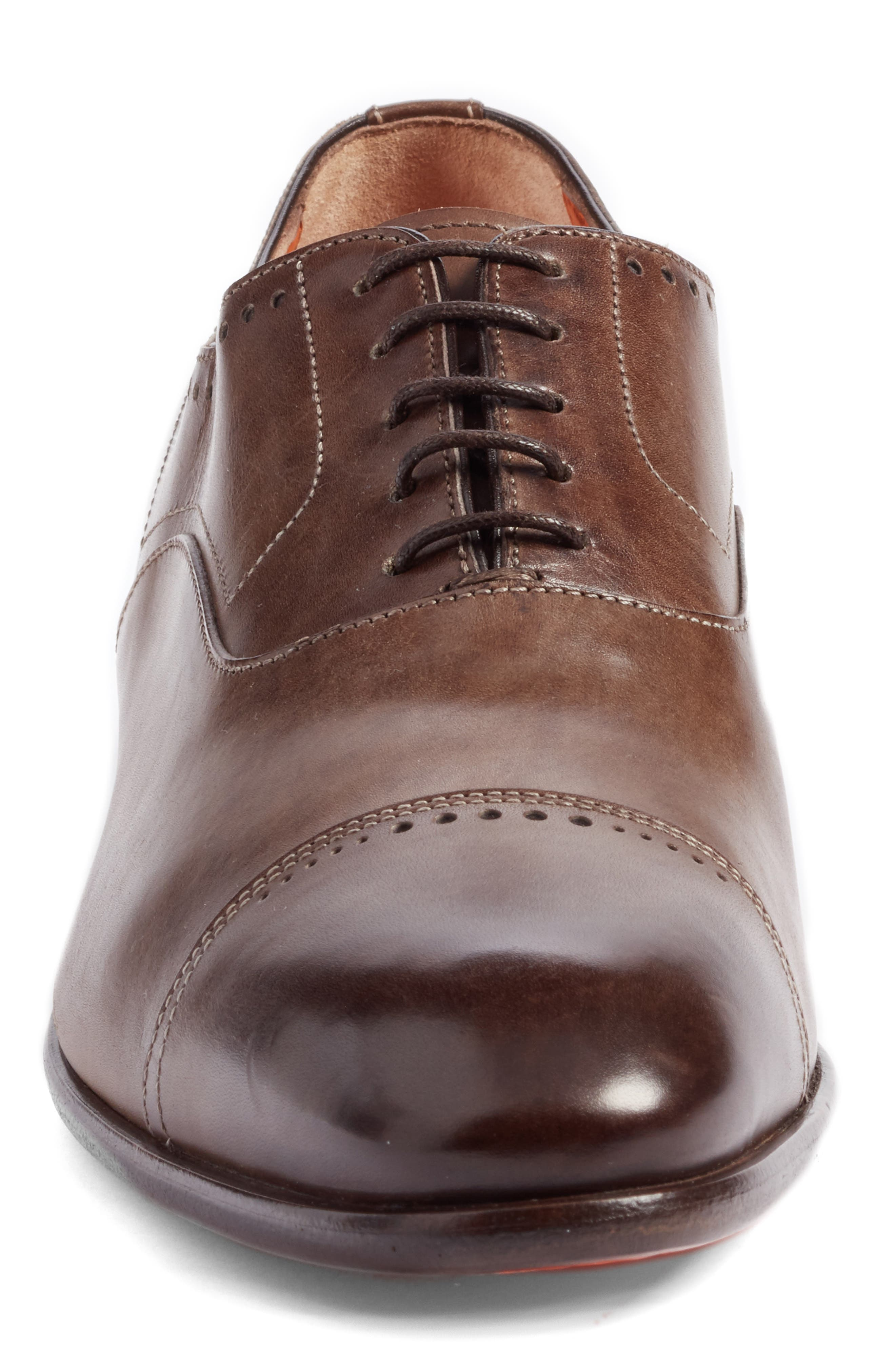 Thurman Cap Toe Oxford,                             Alternate thumbnail 4, color,                             Dark Brown Leather