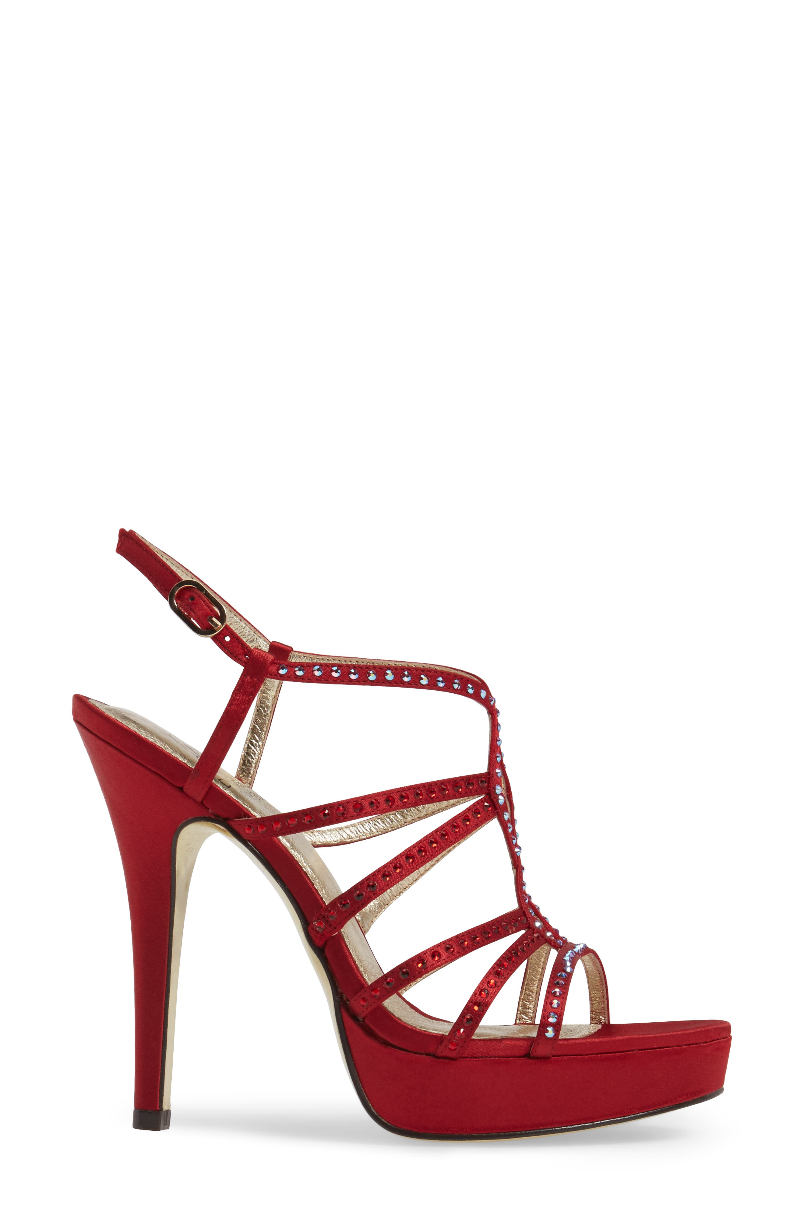 Miranda Embellished Platform Sandal,                             Alternate thumbnail 3, color,                             Red Classic Satin