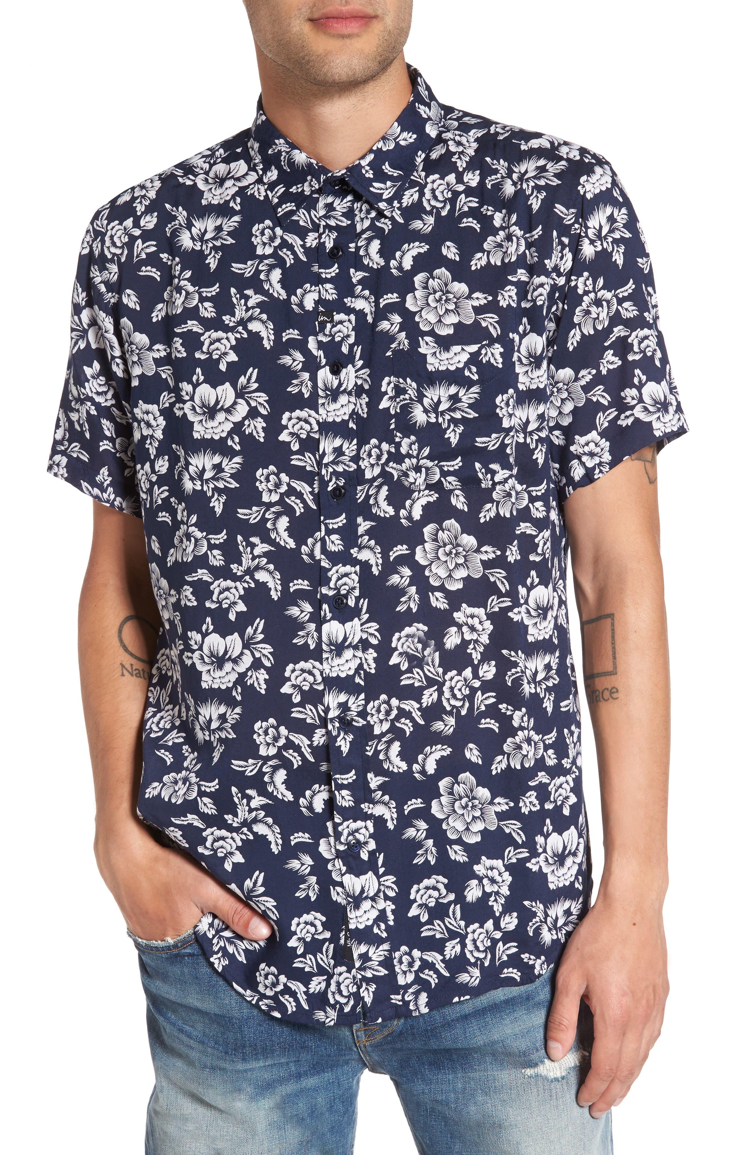 Havanna Trim-Fit Woven Shirt,                         Main,                         color, Navy