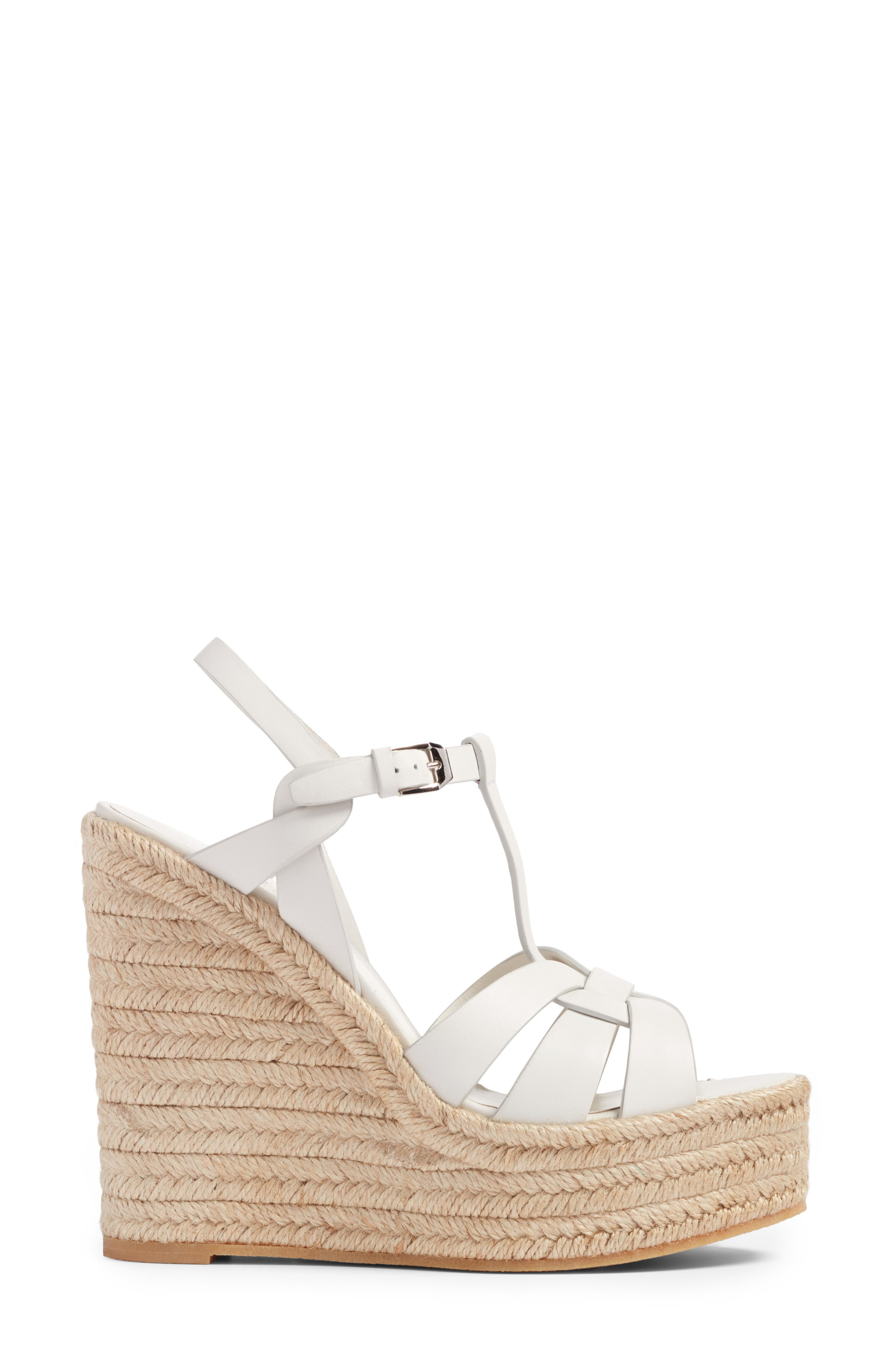 Tribute Espadrille Wedge,                             Alternate thumbnail 3, color,                             White Leather