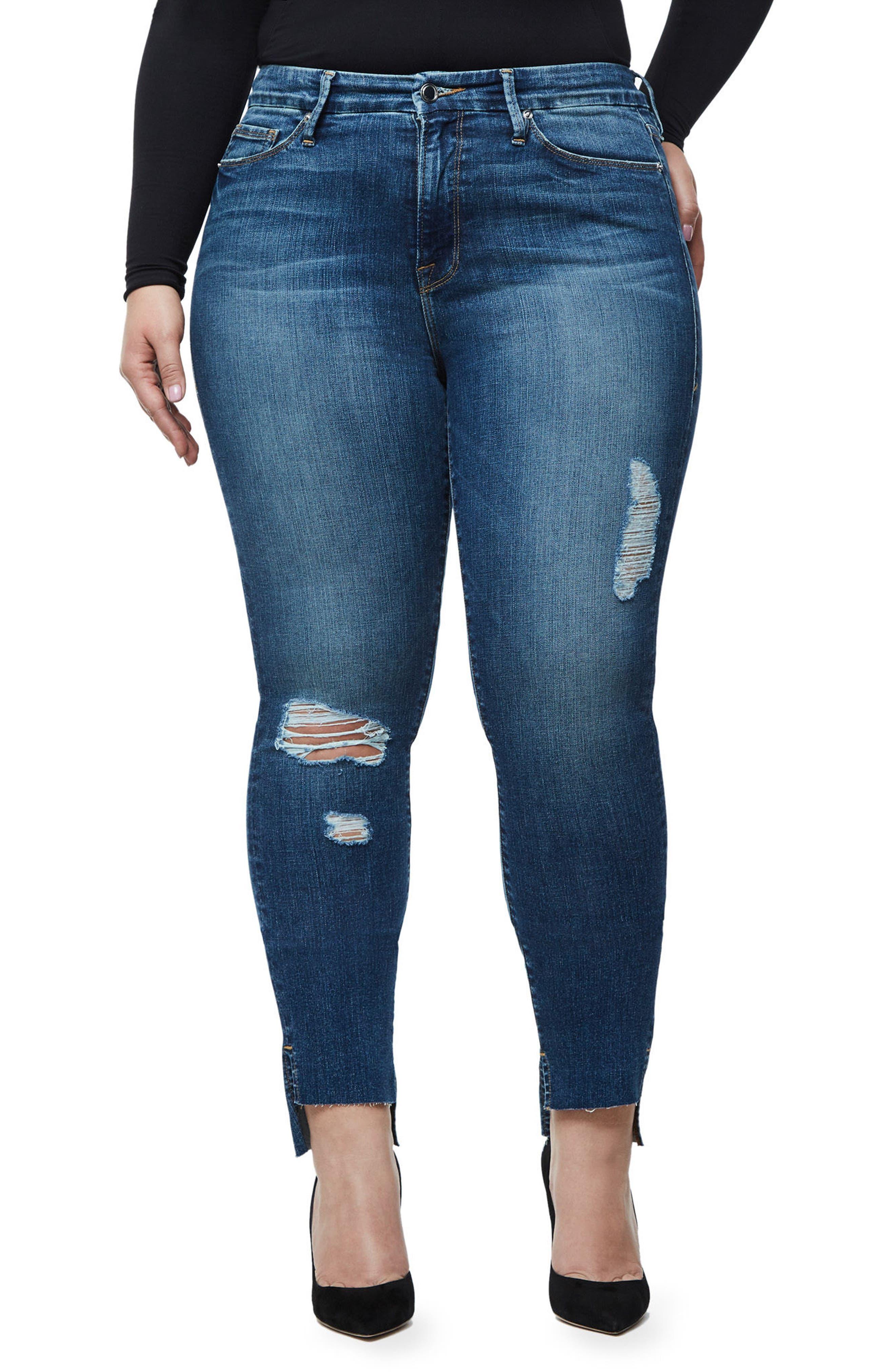 Good Waist Stagger Hem Jeans,                             Alternate thumbnail 7, color,                             Blue074