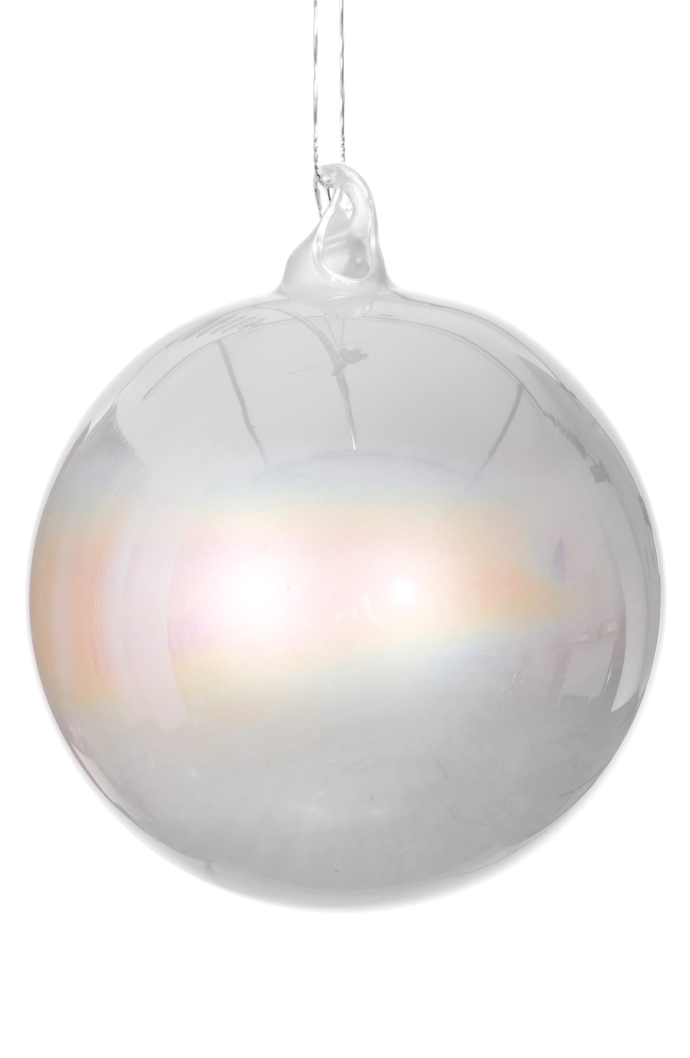 Pearly Finish Glass Ball Ornament,                         Main,                         color, White