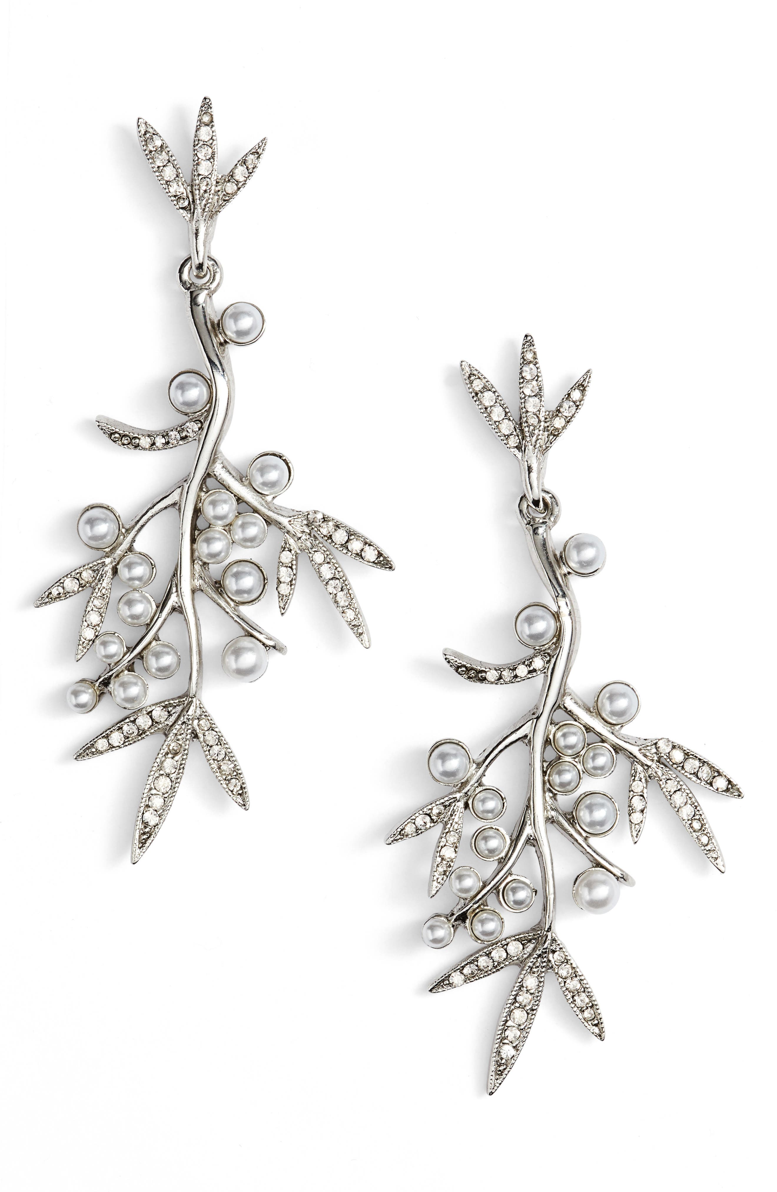 Main Image - Oscar de la Renta Imitation Pearl & Crystal Drop Earrings