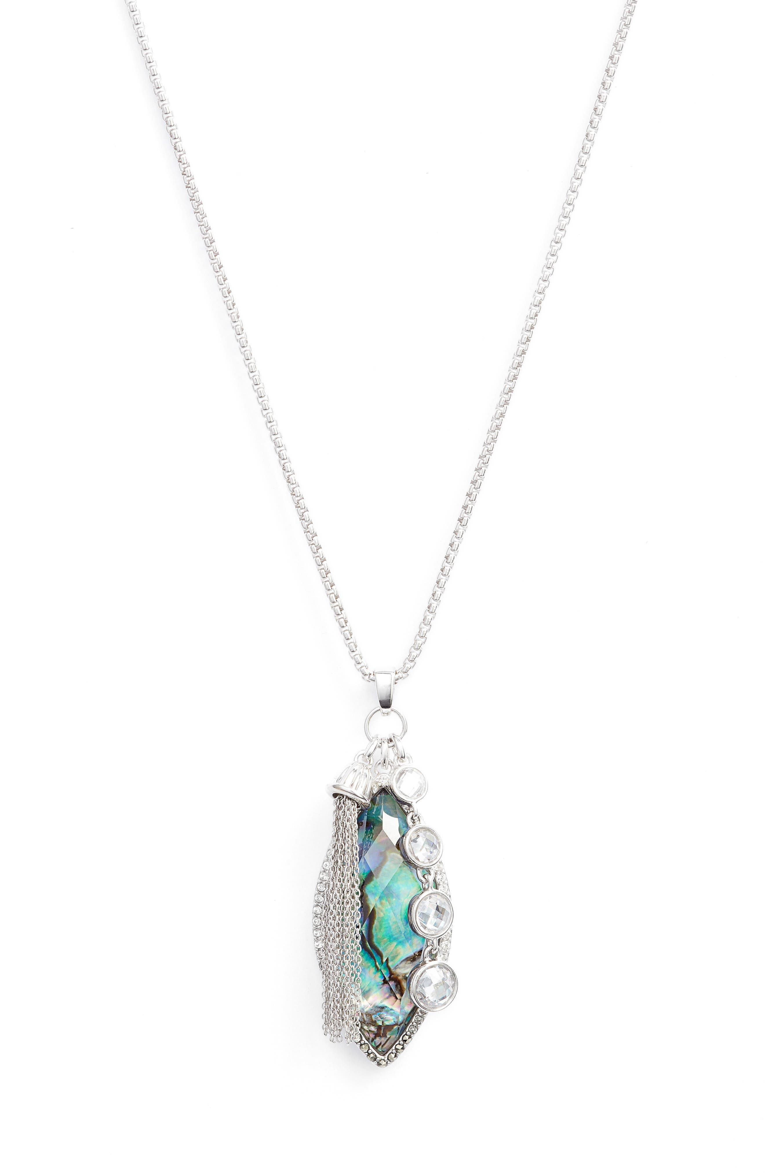 Tropical Touches Pendant Necklace,                         Main,                         color, Abalone/ Black Diamond