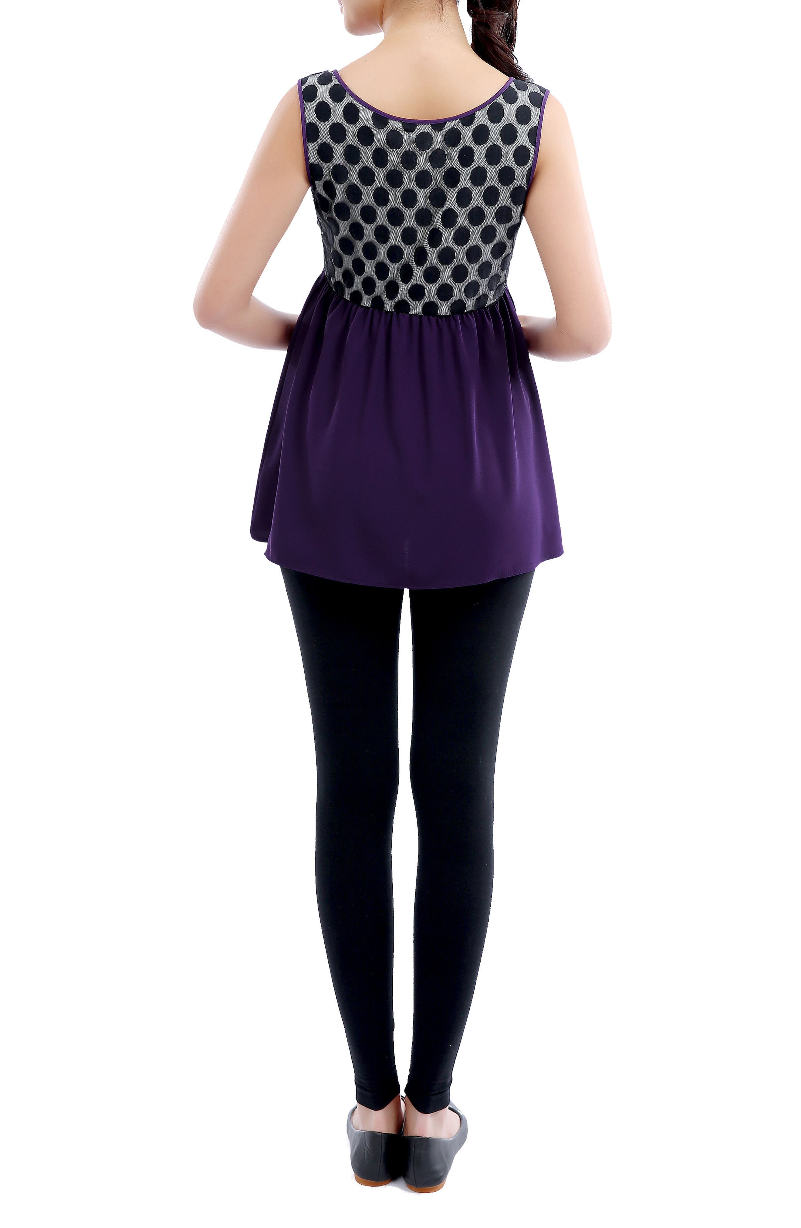 Alternate Image 2  - Kimi and Kai 'Amber' Polka Dot Lace Back Maternity Top