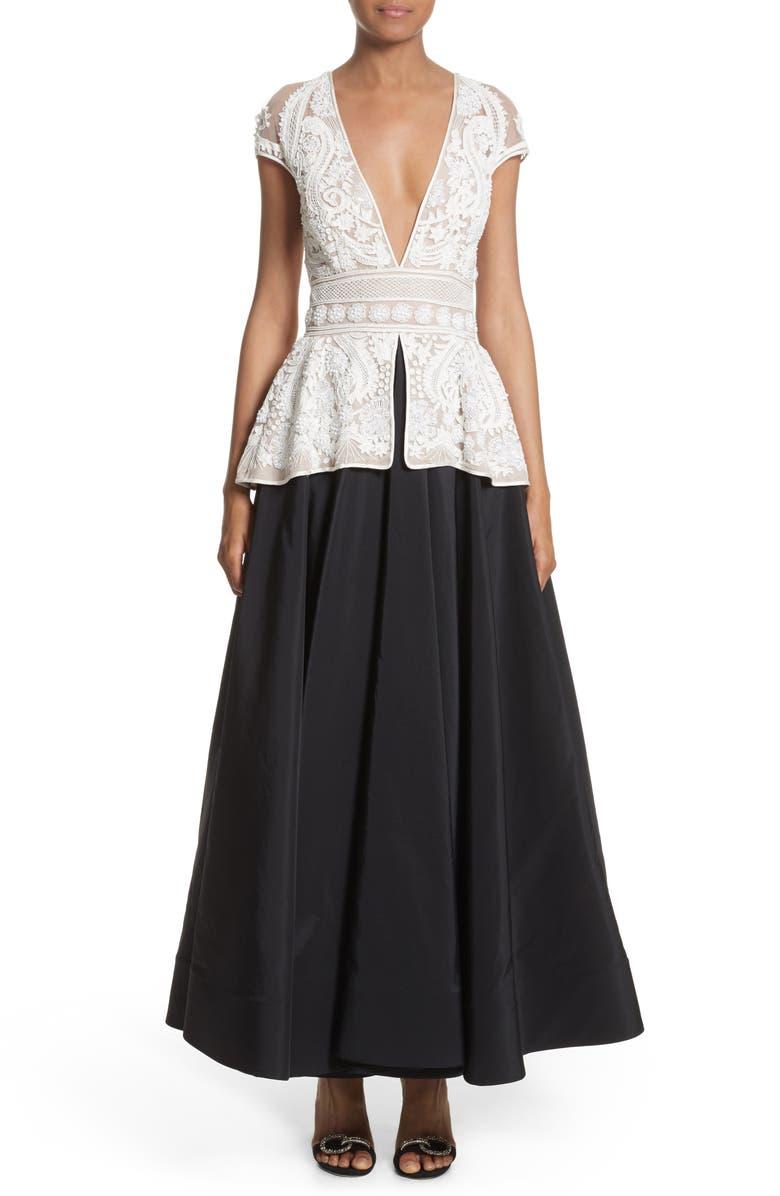 2-Piece Look Peplum Gown