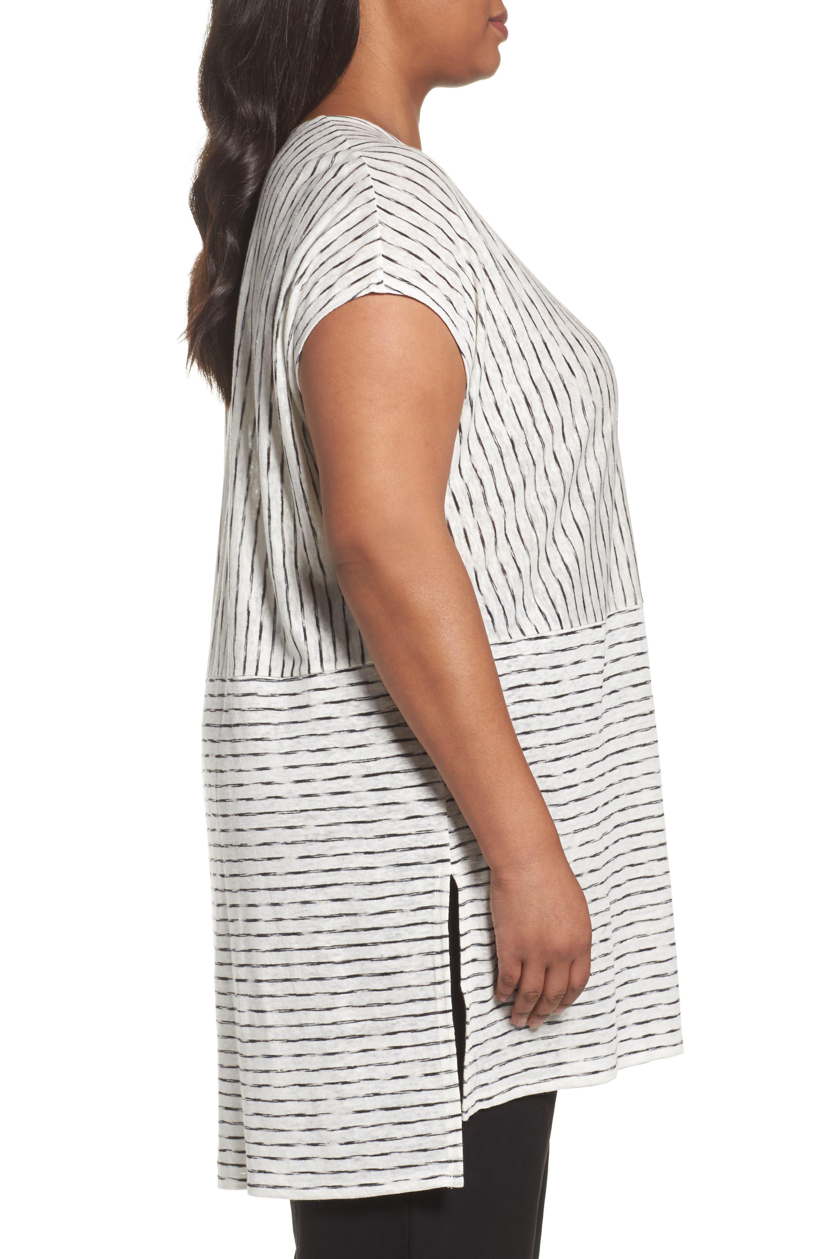 Alternate Image 3  - Eileen Fisher Painterly Organic Linen Jersey Tunic (Plus Size)