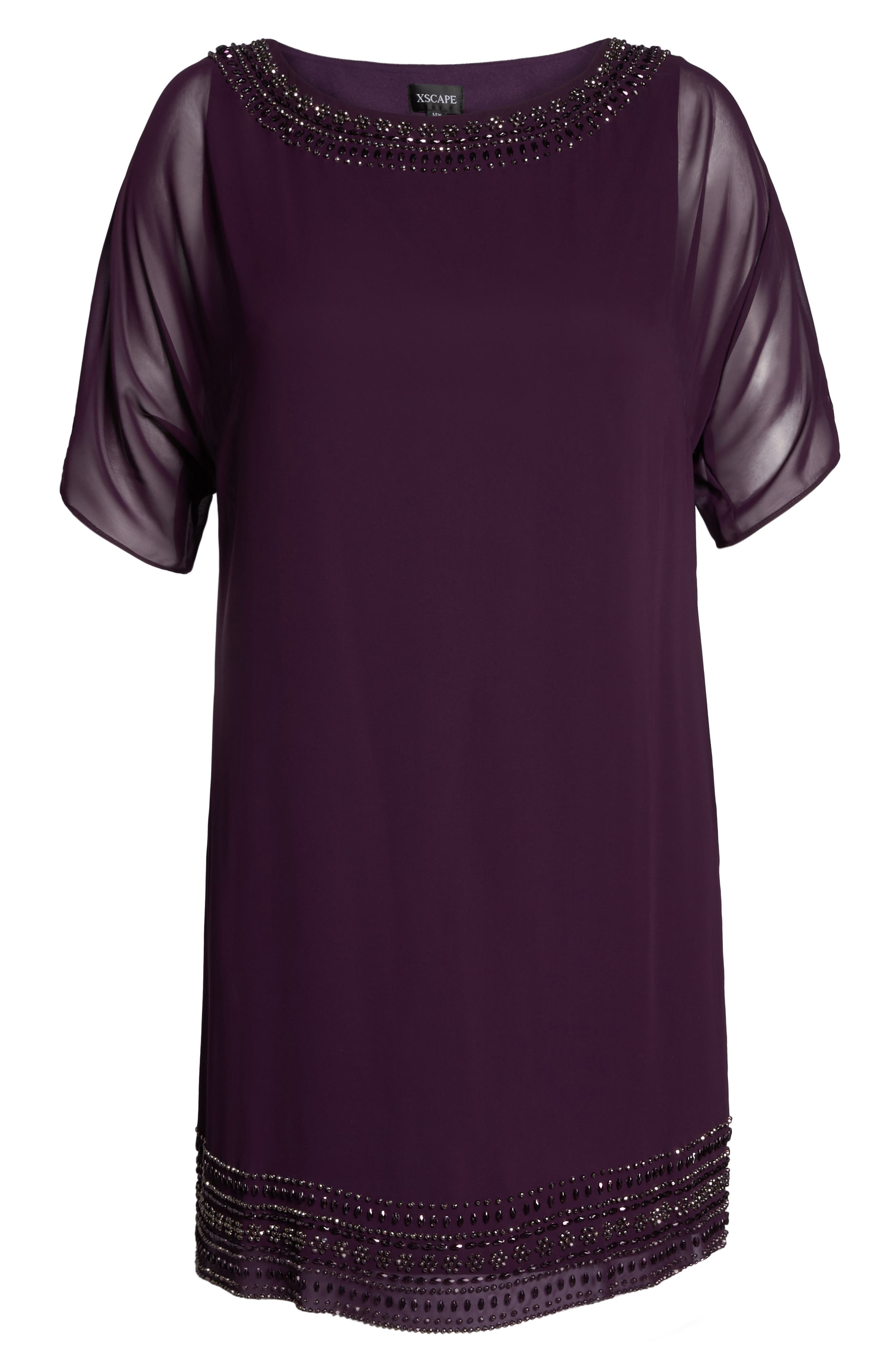 Alternate Image 6  - Xscape Embellished Split Sleeve Chiffon Shift Dress (Plus Size)