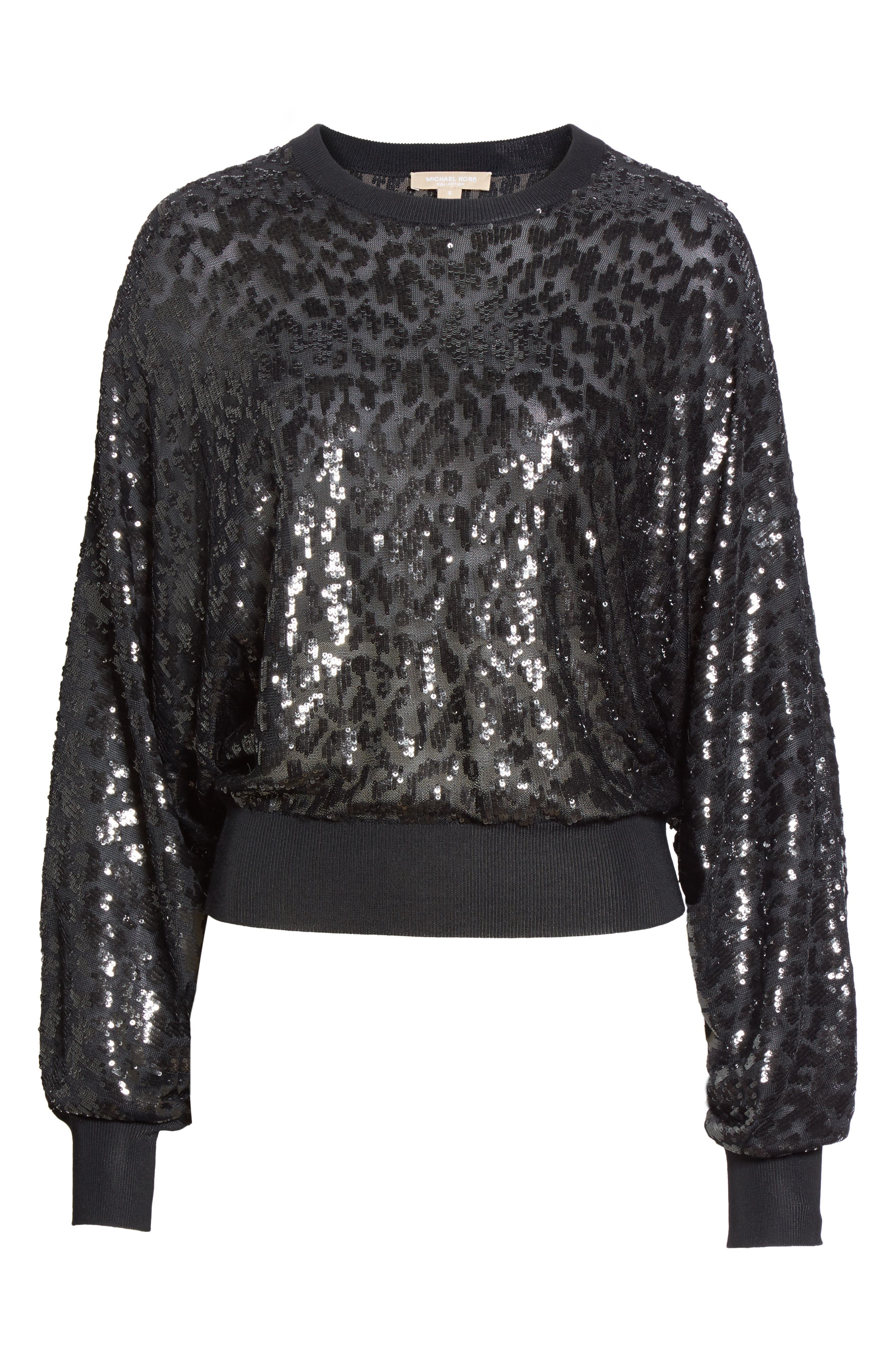 Sequined Tulle Leopard Sweater,                             Alternate thumbnail 7, color,                             Black/ Black