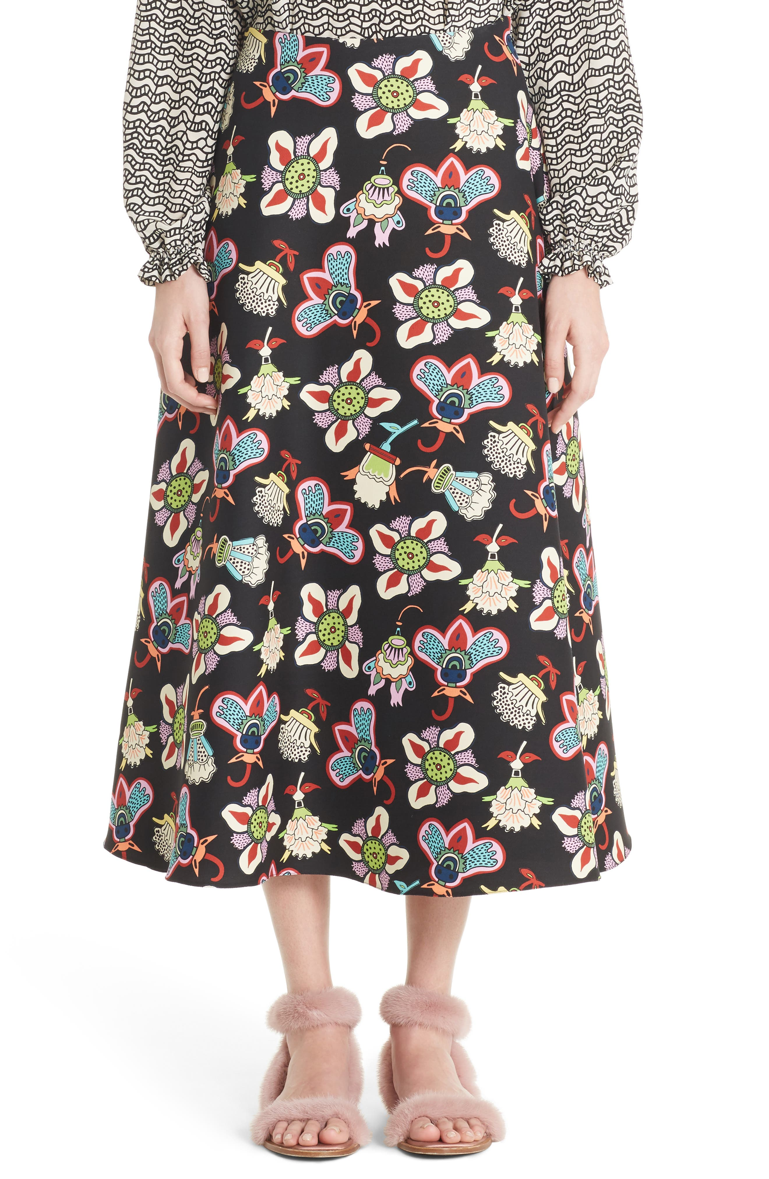 Valentino Pop Floral Print Crepe Midi Skirt