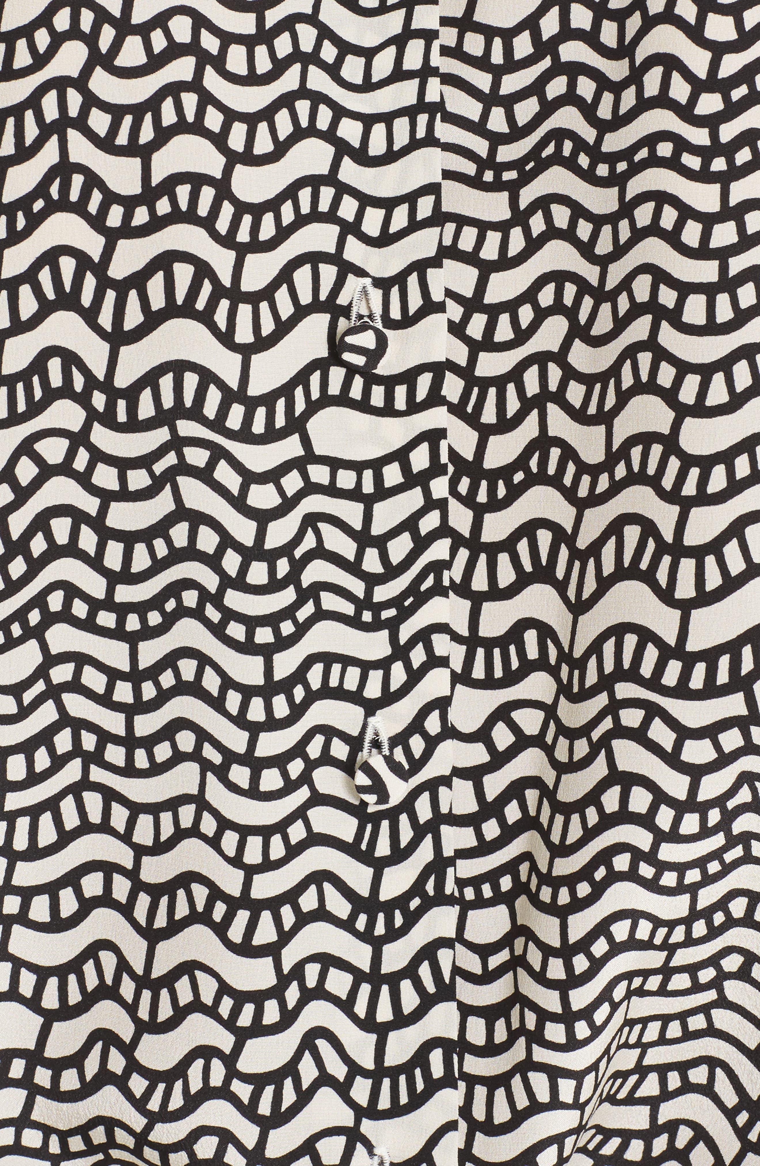 Graphic Print Silk Crêpe de Chine Blouse,                             Alternate thumbnail 3, color,                             Ivory/ Black