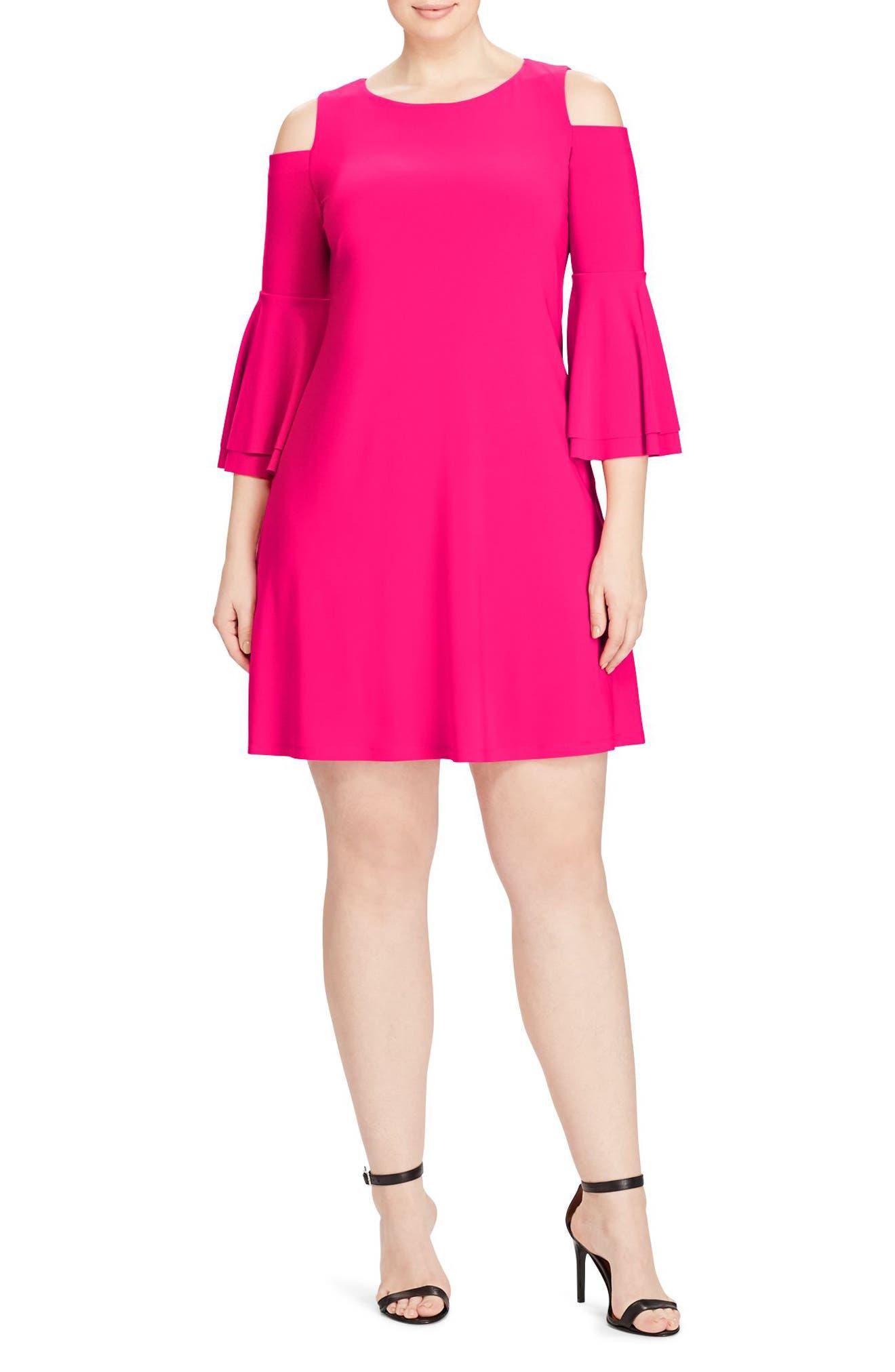 Cold Shoulder A-Line Dress,                         Main,                         color, Caliente Pink