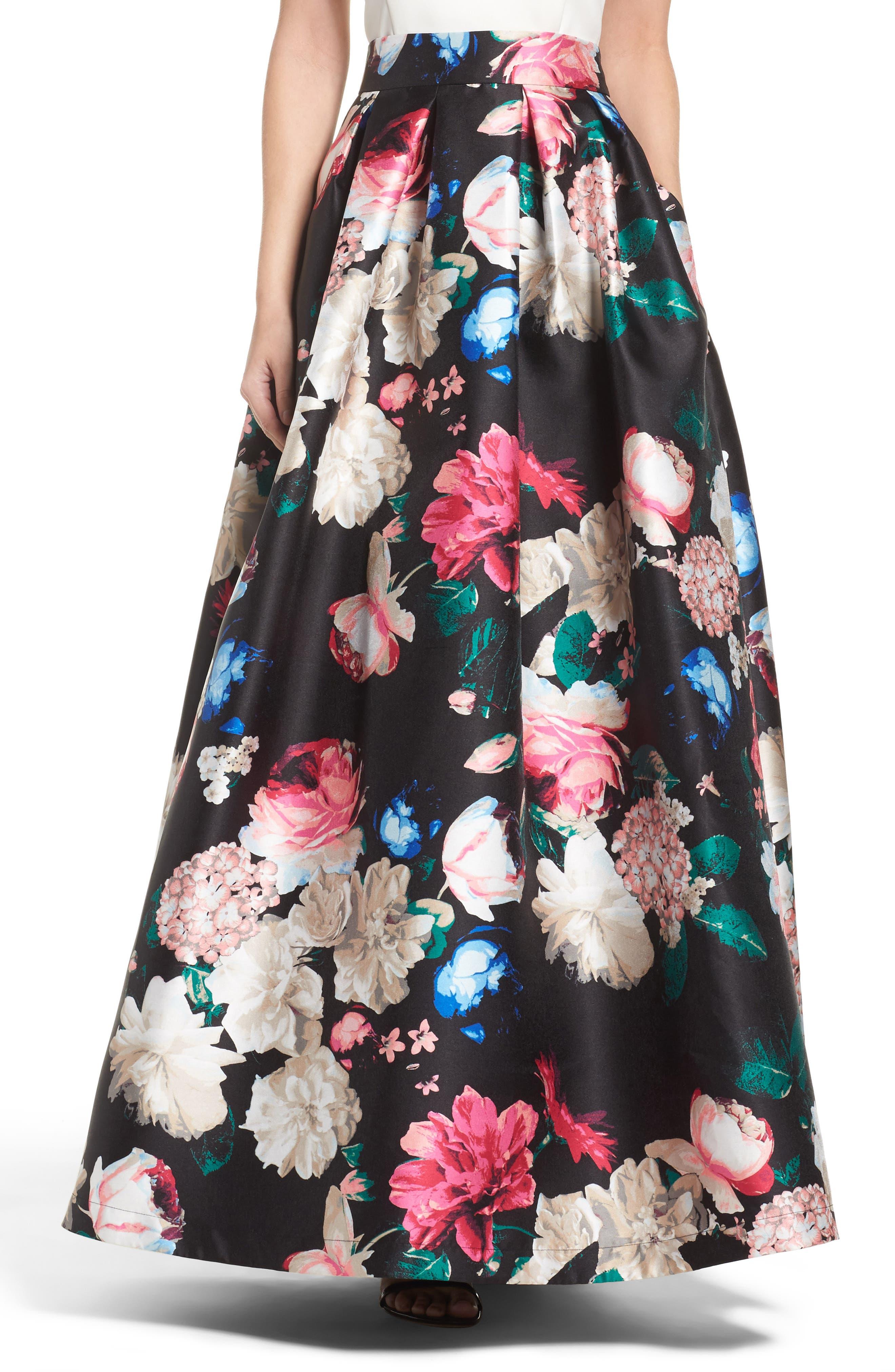 Faille Ball Skirt,                         Main,                         color, Black/ Pink