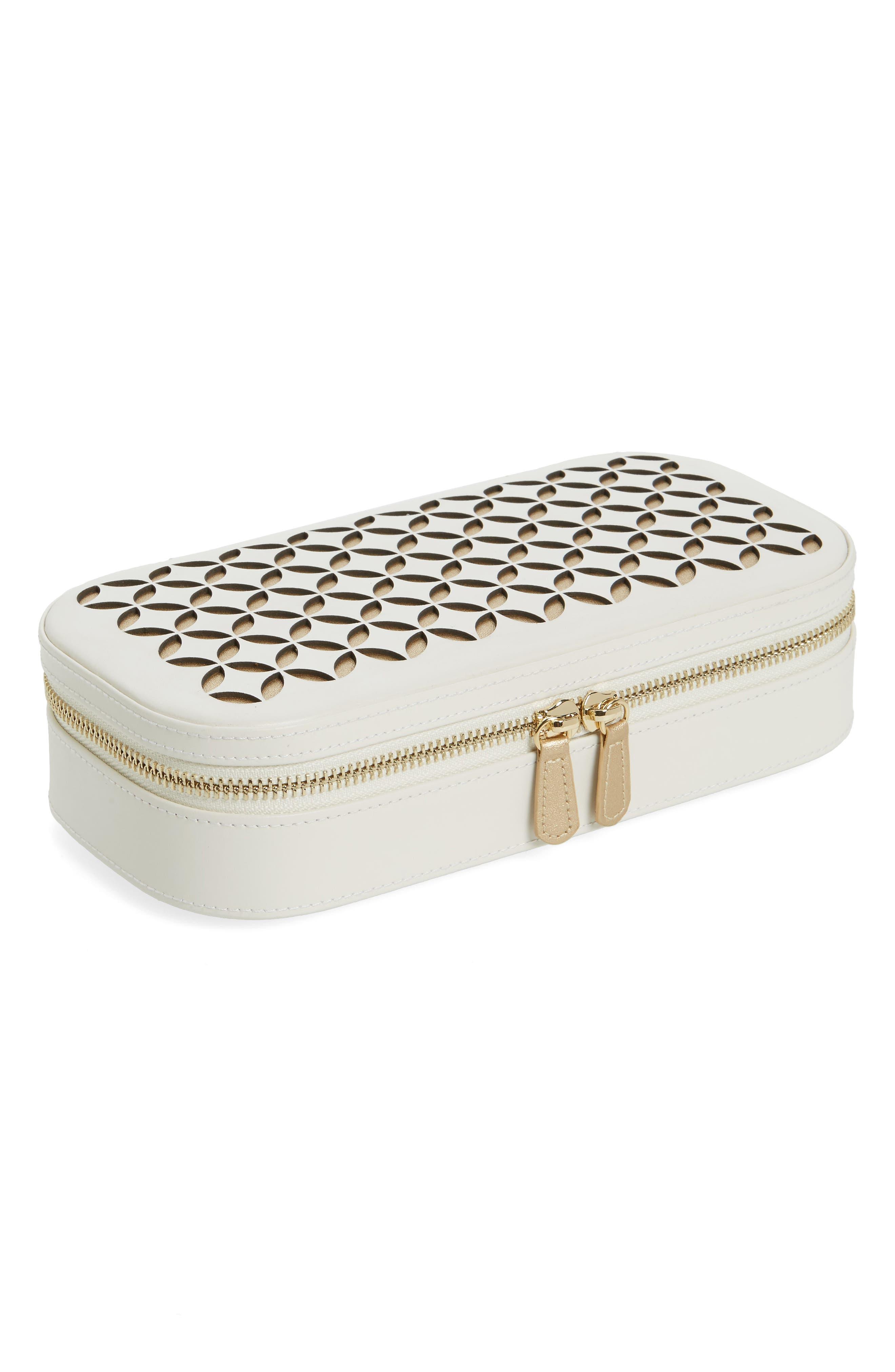 Chloe Zip Jewelry Case,                         Main,                         color, Ivory
