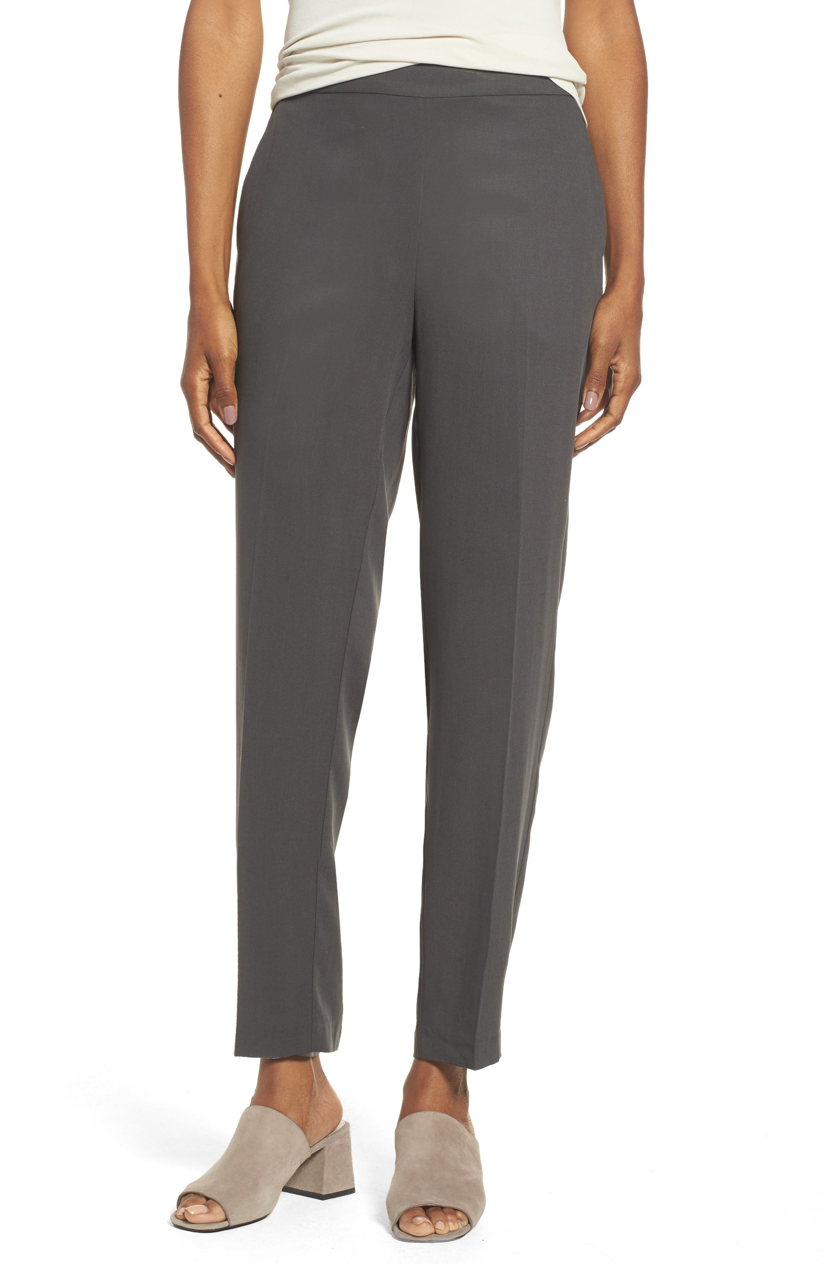 Eileen Fisher Woven Slim Leg Ankle Pants (Regular & Petite)