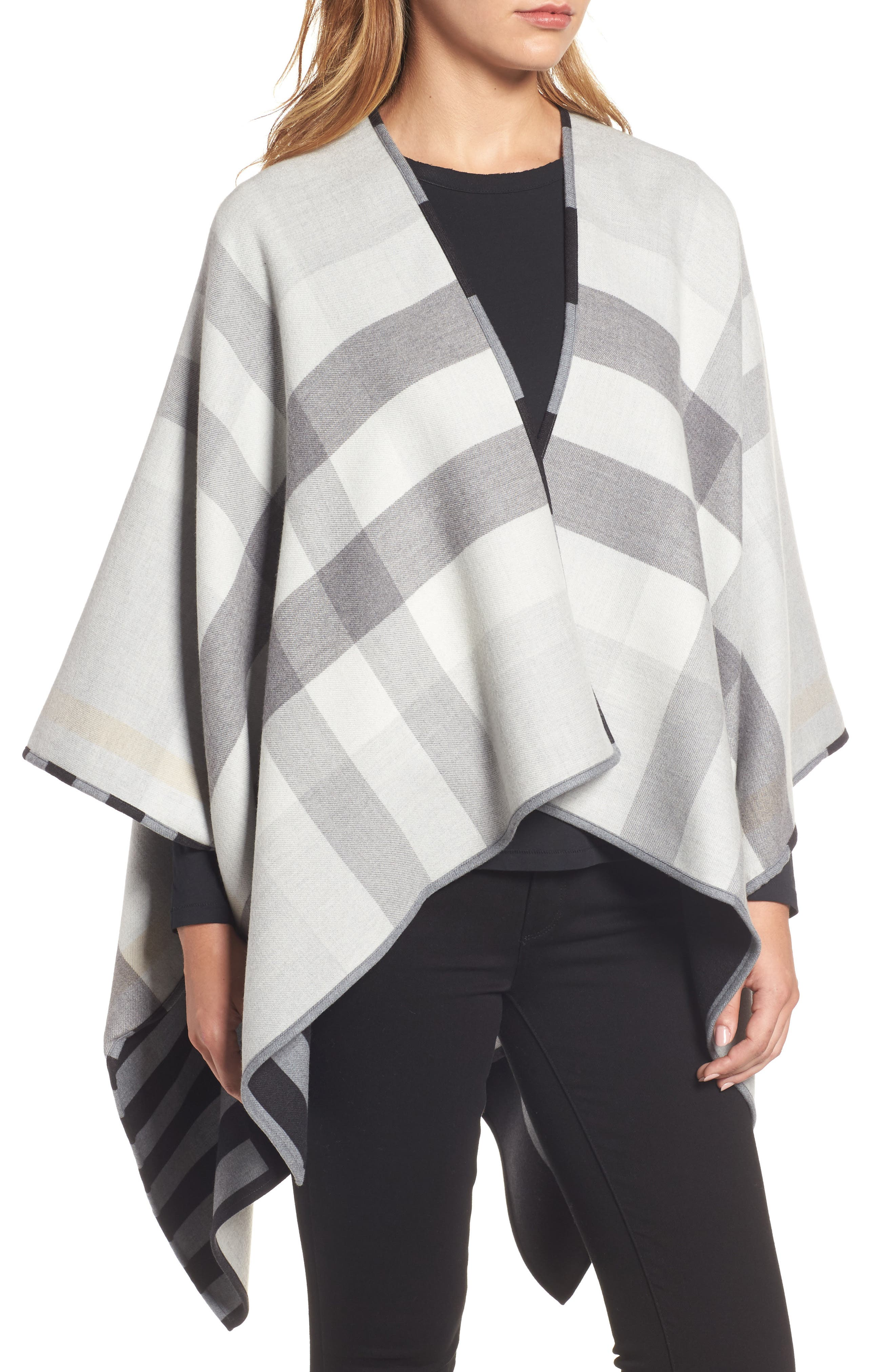 Alternate Image 2  - Burberry Stripe Merino Wool Poncho