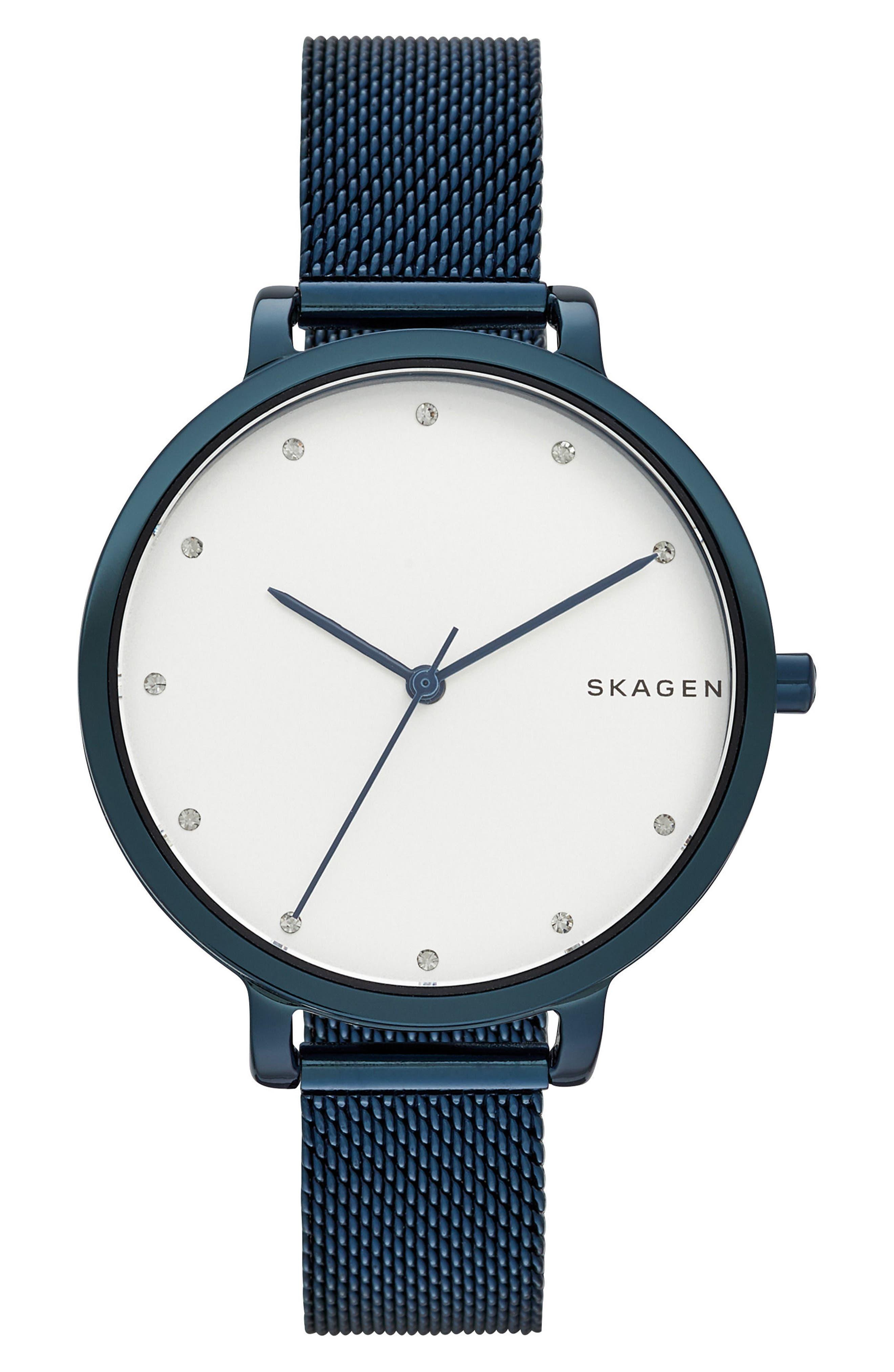 Hagen Round Mesh Strap Watch, 34mm,                             Main thumbnail 1, color,                             Blue/ Silver/ Blue