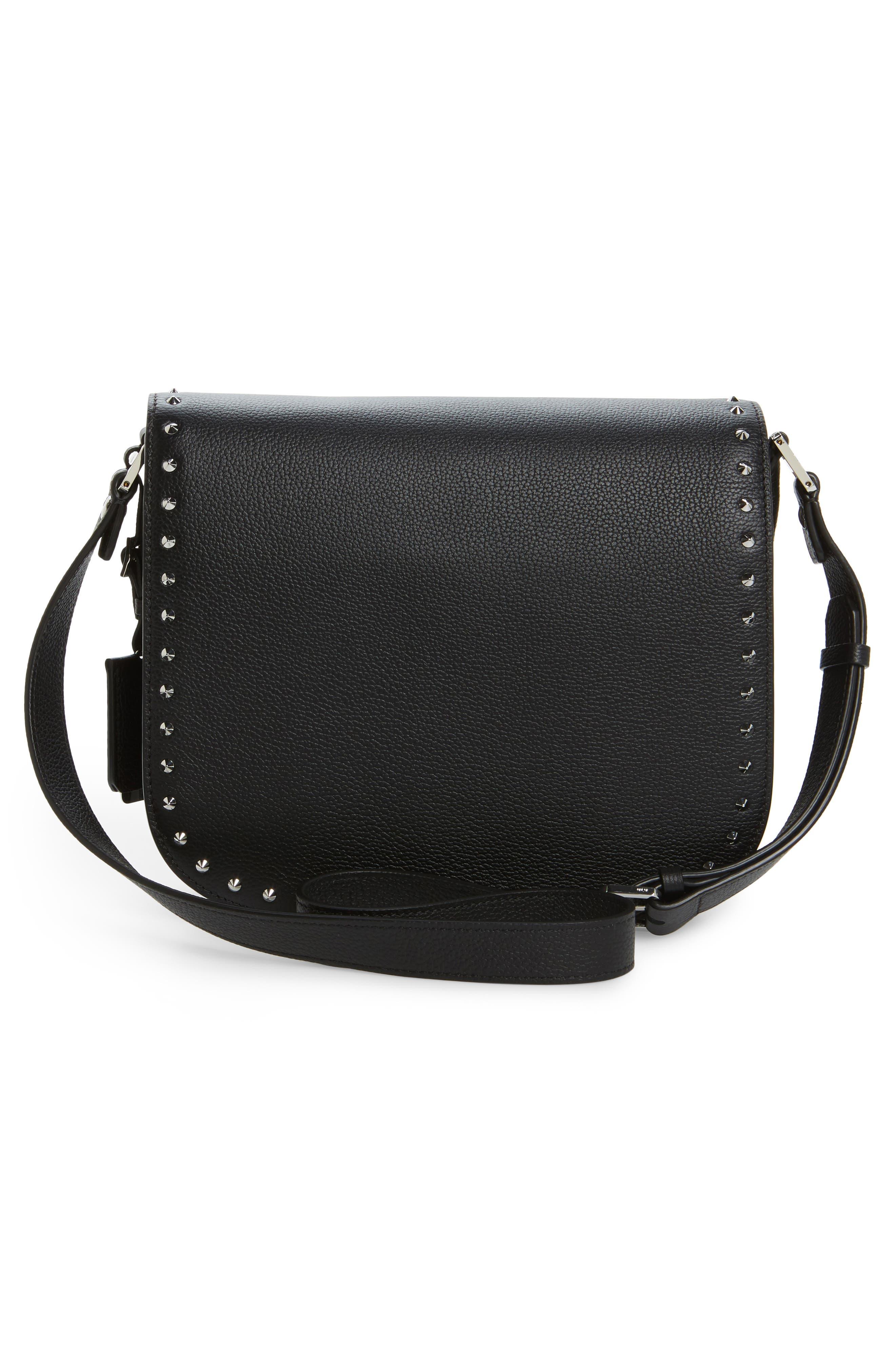 Patricia Studded Outline Leather Shoulder Bag,                             Alternate thumbnail 2, color,                             Black