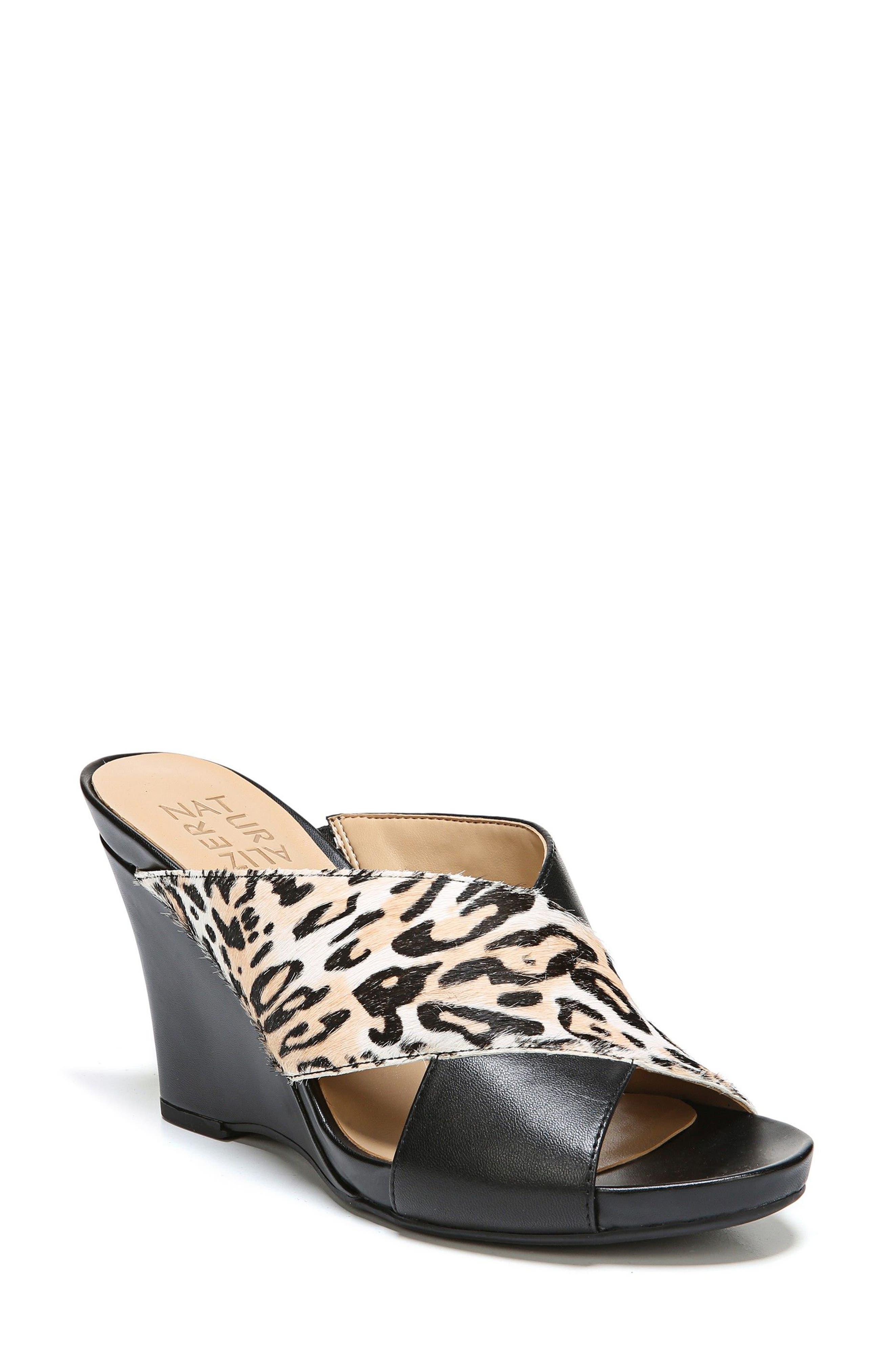 Bianca Wedge Mule,                         Main,                         color, Black Cheetah Leather