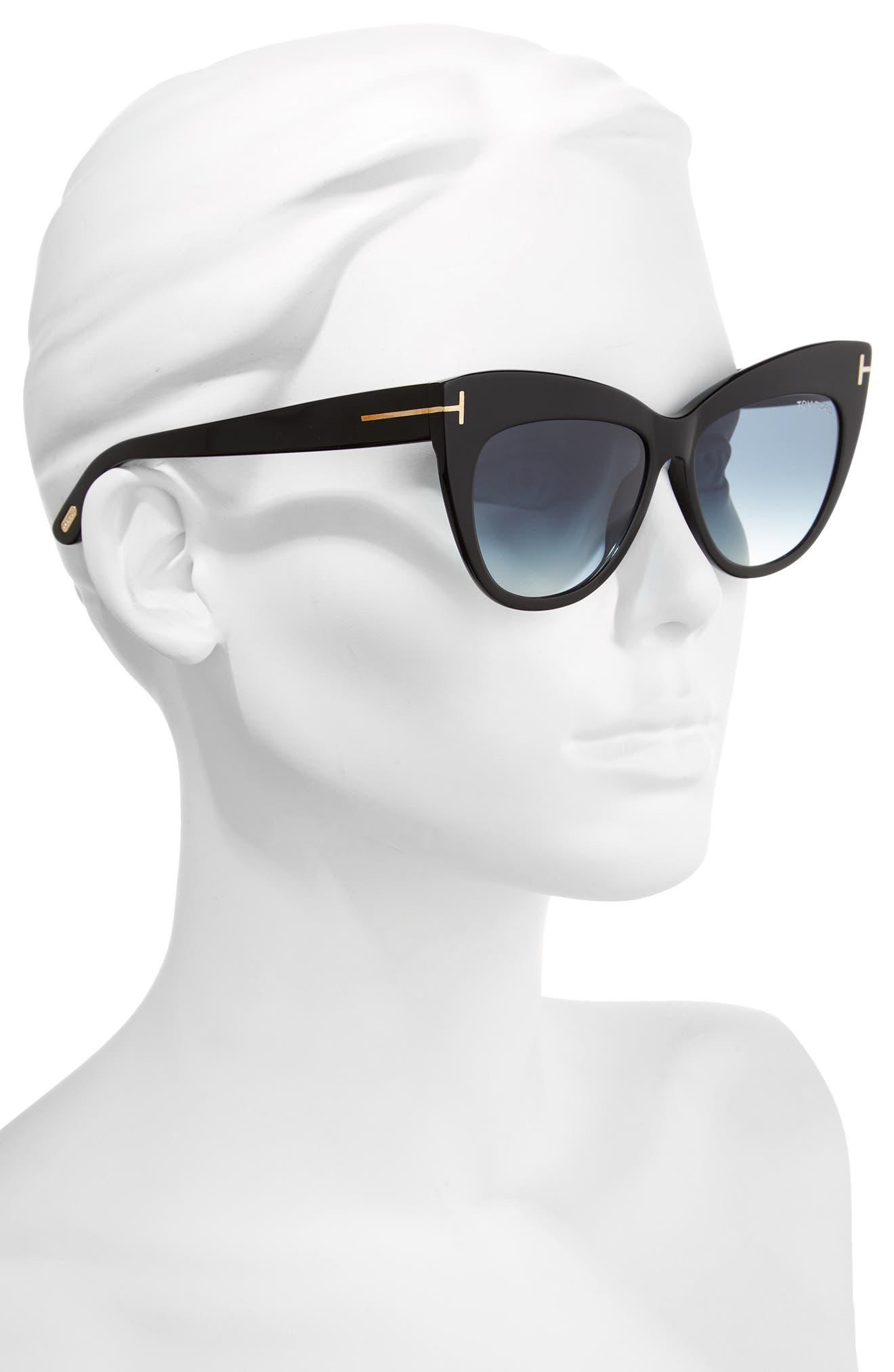 Nika 56mm Gradient Cat Eye Sunglasses,                             Alternate thumbnail 2, color,                             Shiny Black/ Gradient Blue