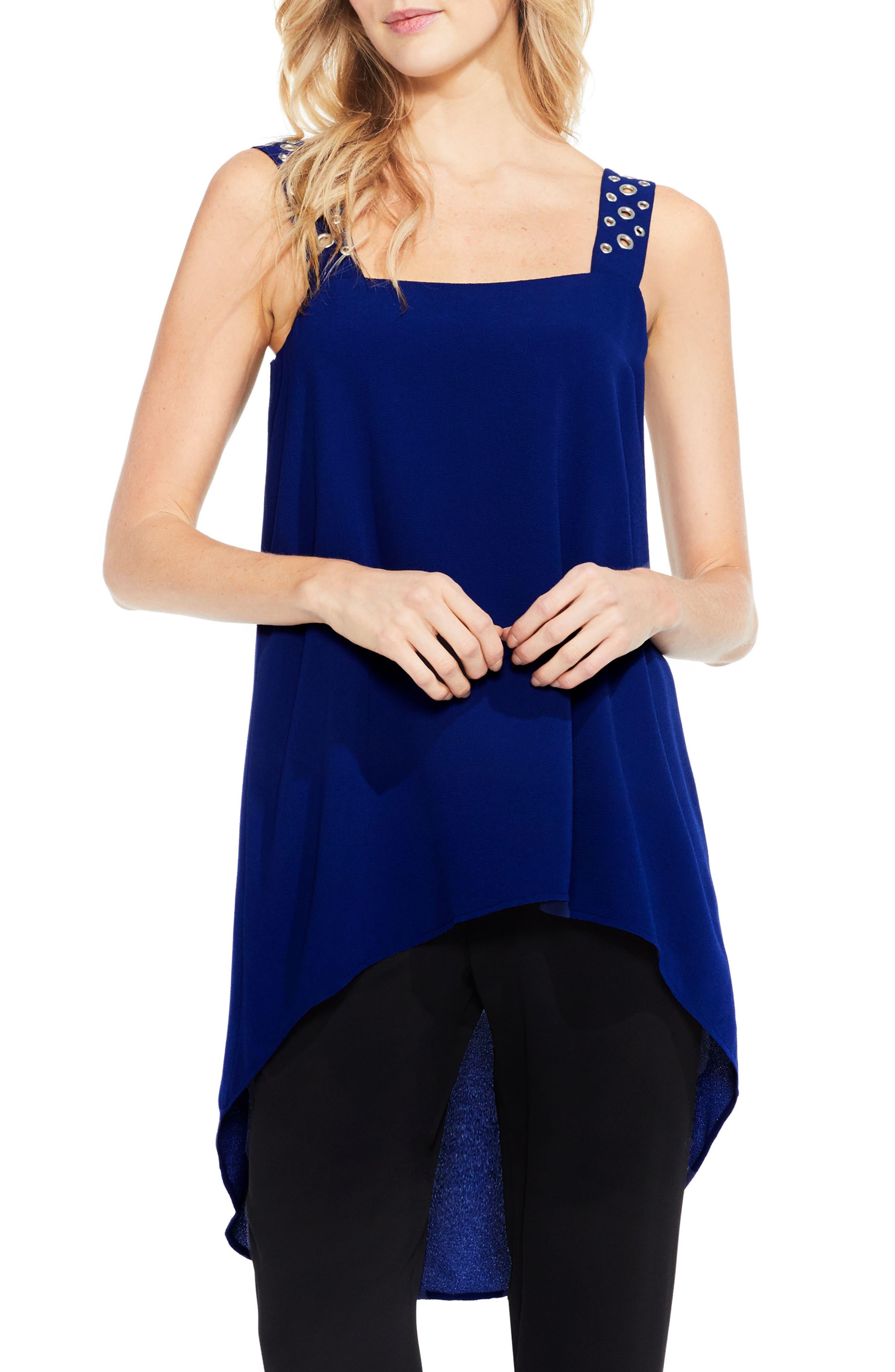 Grommet Strap High/Low Tunic,                         Main,                         color, Deep Blue