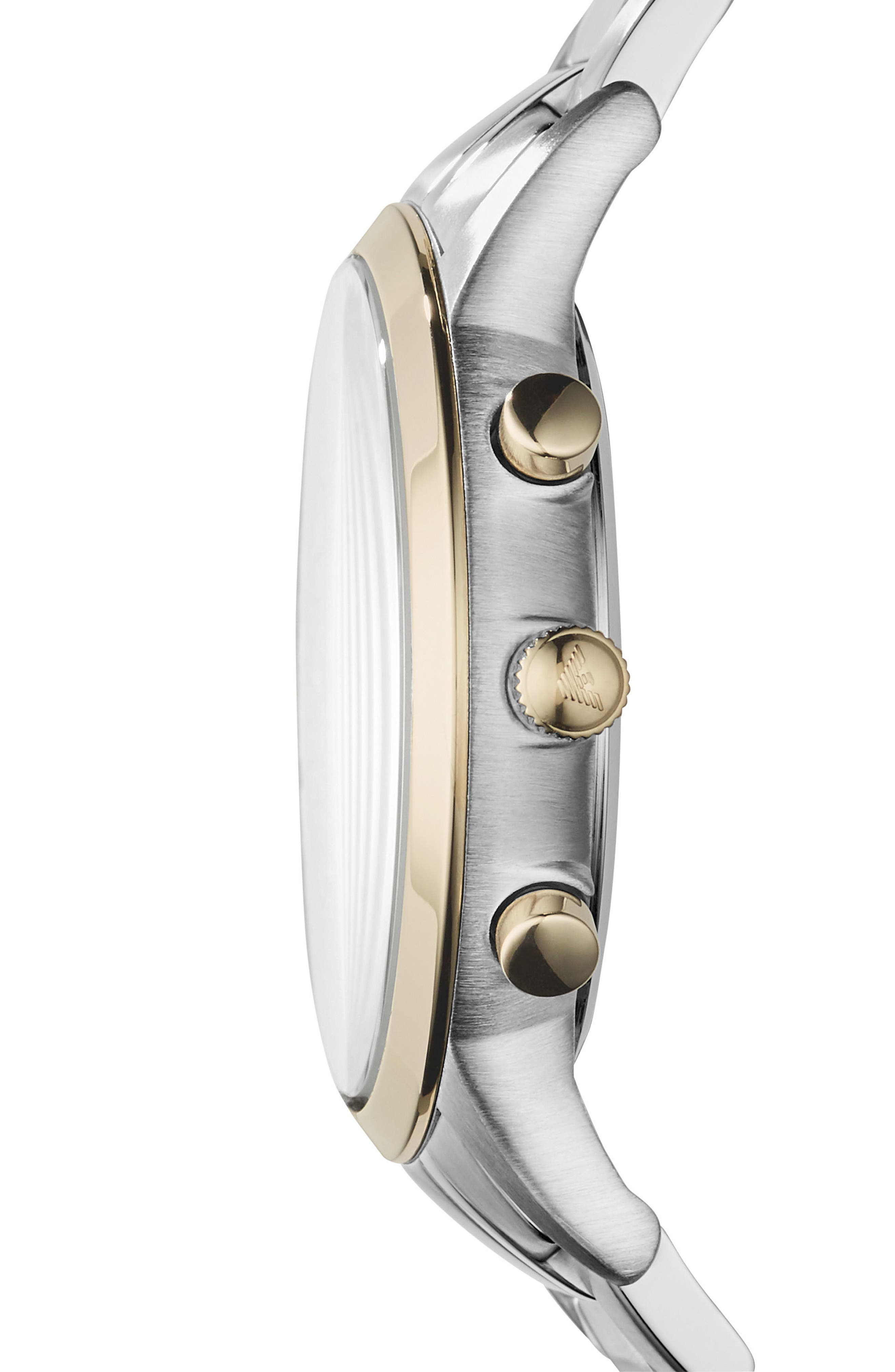 Alternate Image 2  - Emporio Armani Two-Tone Chronograph Bracelet Watch, 43mm