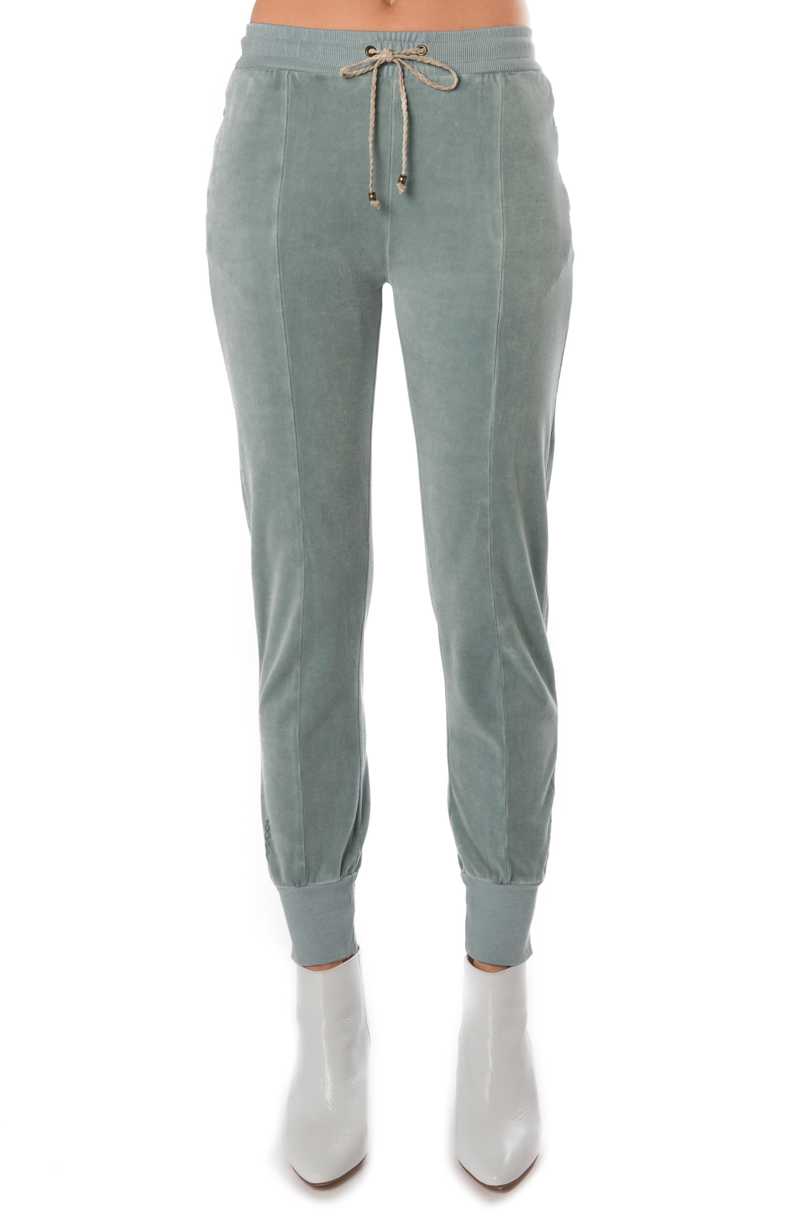High Waist Velour Track Pants,                         Main,                         color, Shadow Blue