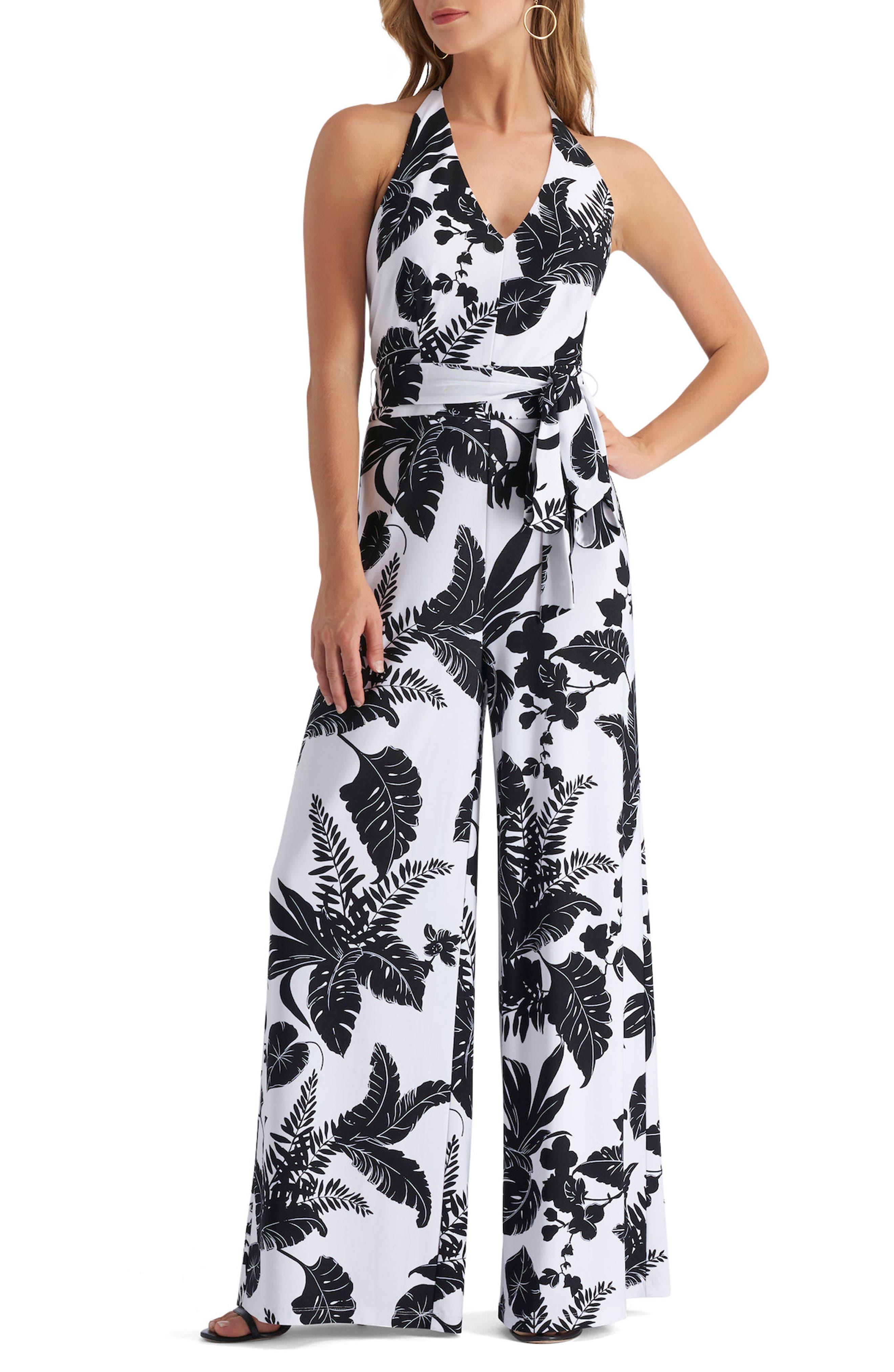Print Halter Jumpsuit,                         Main,                         color, Black
