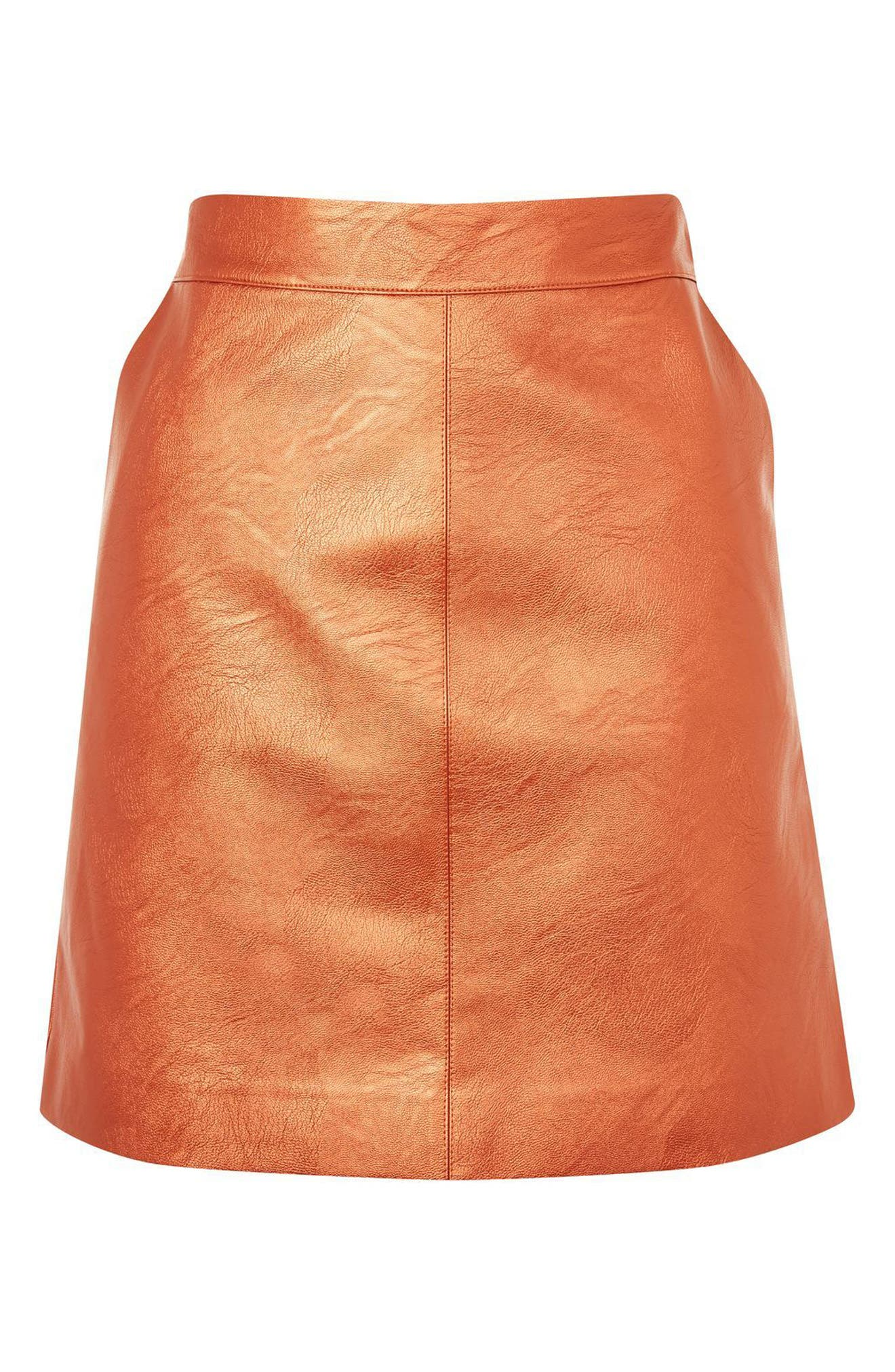 Faux Leather Skirt,                             Alternate thumbnail 3, color,                             Rust