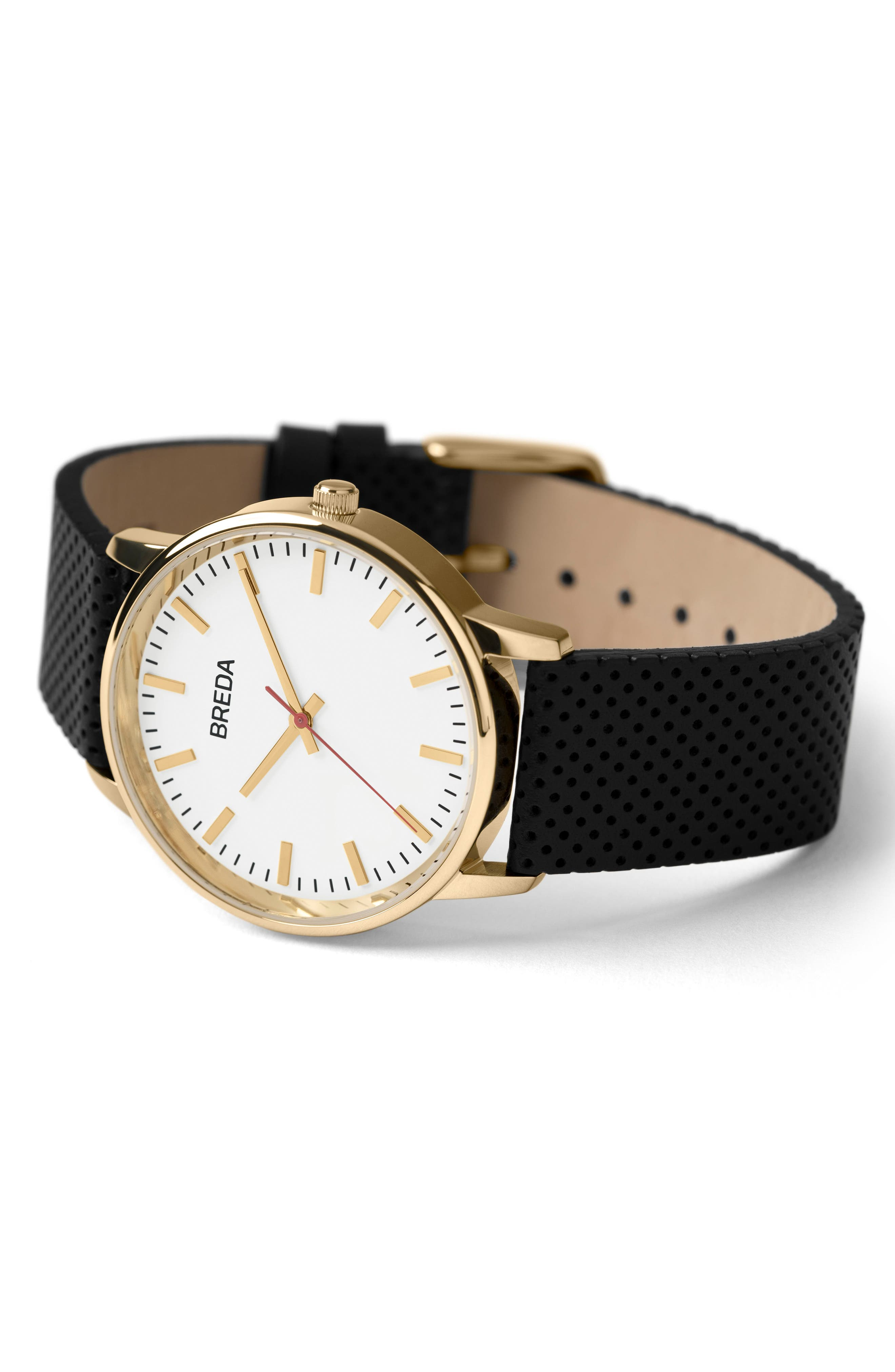 Round Perforated Leather Strap Watch, 39mm,                             Alternate thumbnail 3, color,                             White/ Black