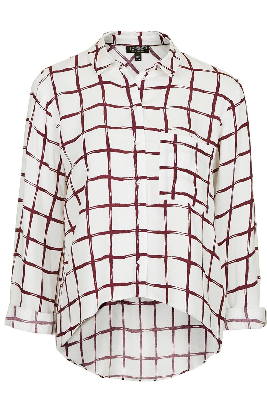 Alternate Image 3  - Topshop Windowpane Curve Hem Shirt
