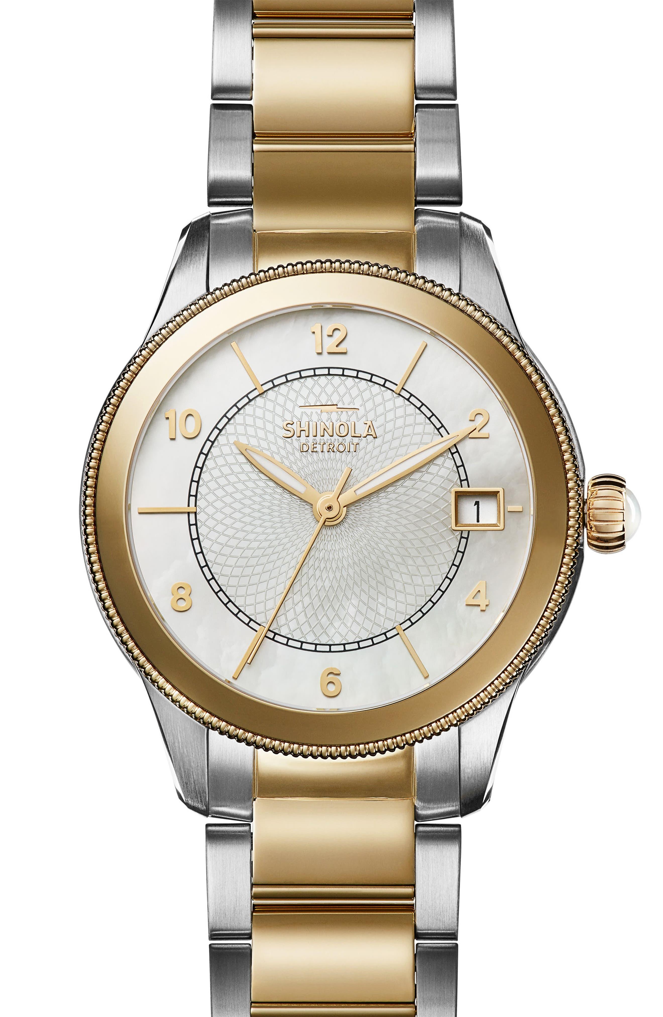 Gail Bracelet Watch, 36mm,                         Main,                         color, Silver/ Mop/ Gold