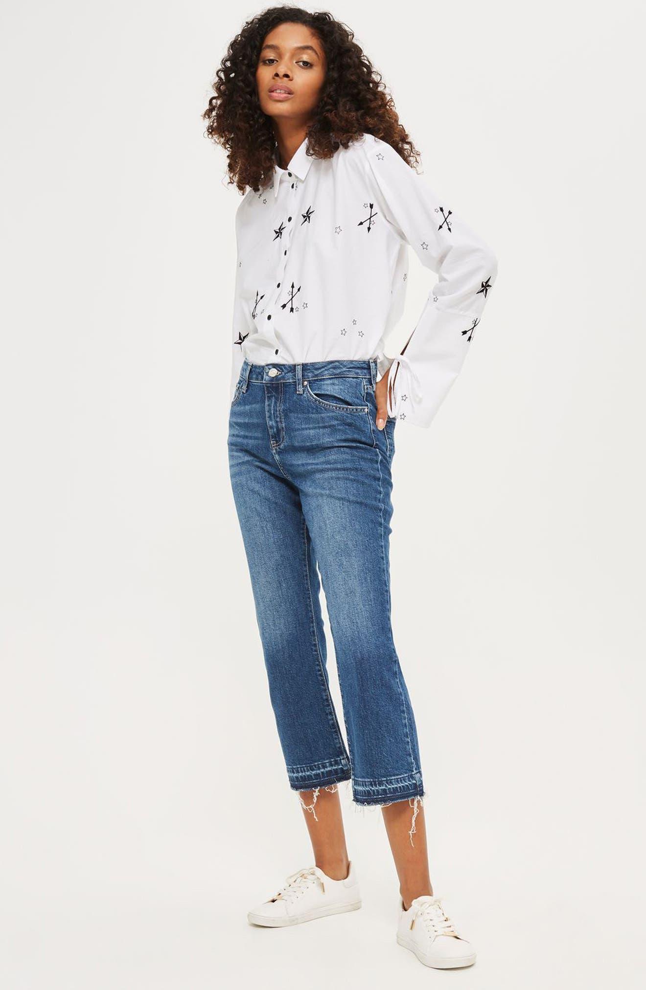 Alternate Image 2  - Topshop Dree Released Hem Flare Jeans