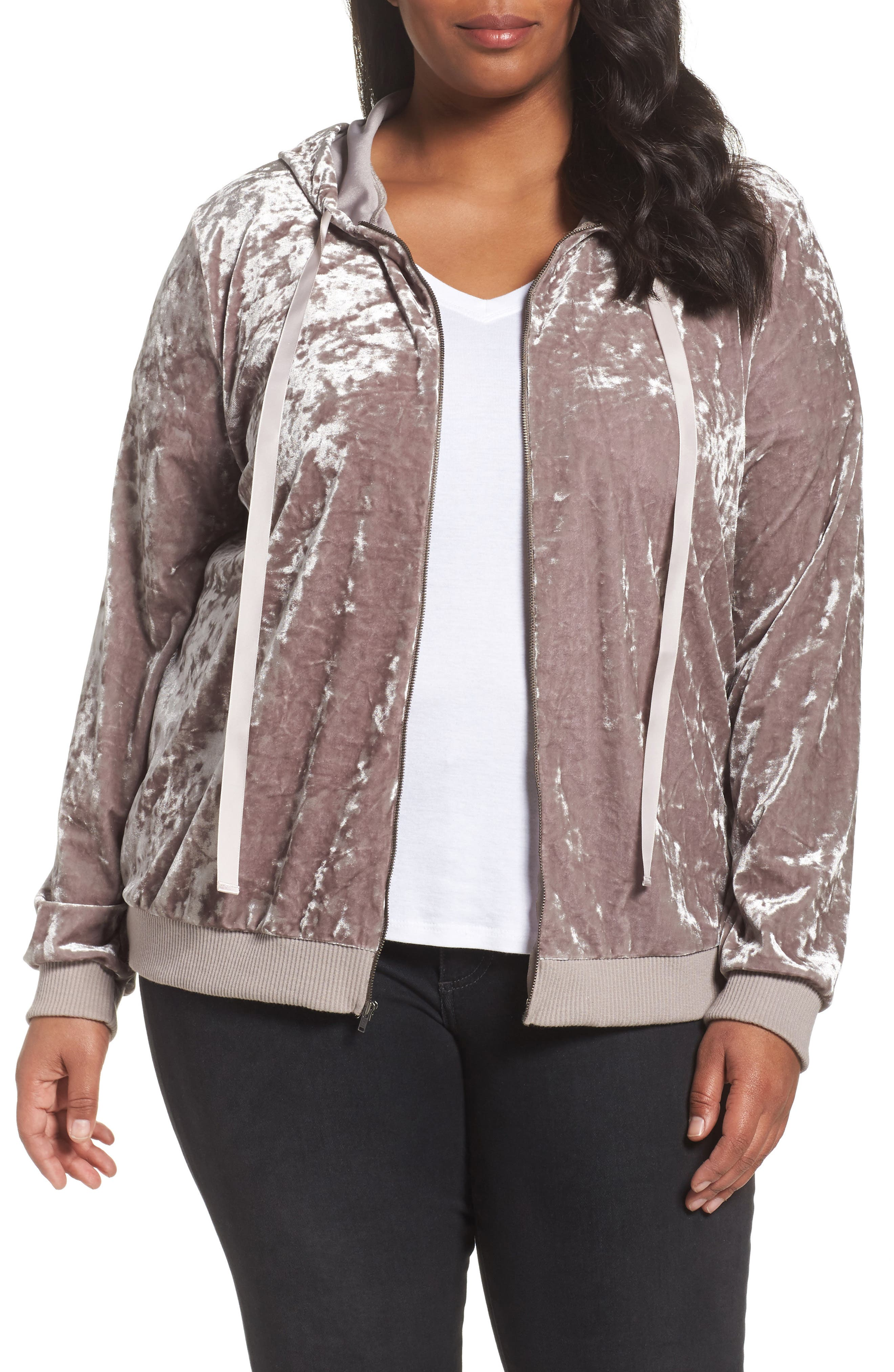 Sejour Crushed Velvet Hoodie Jacket (Plus Size)
