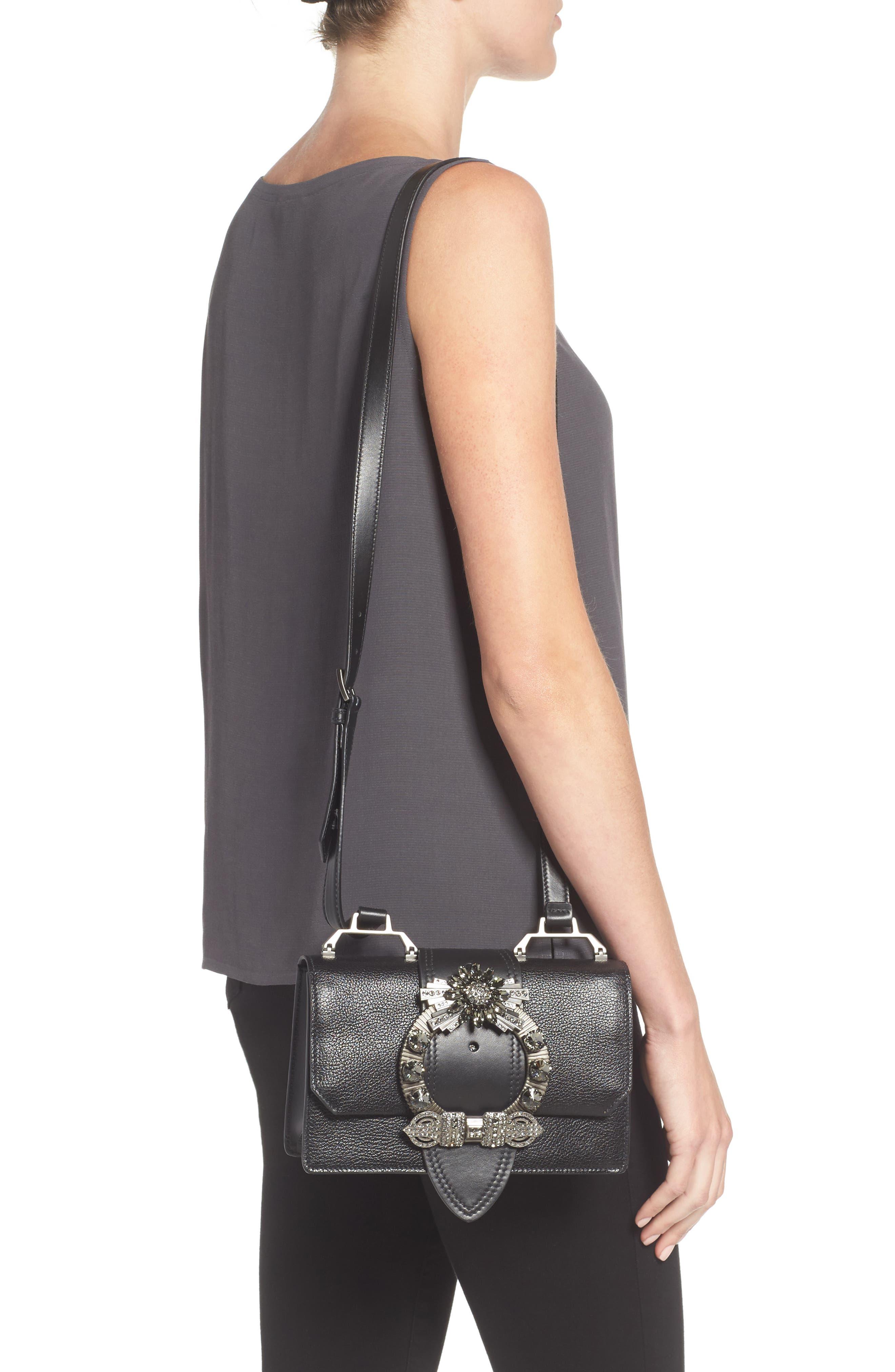 Madras Crystal Embellished Leather Shoulder Bag,                             Alternate thumbnail 2, color,                             Black