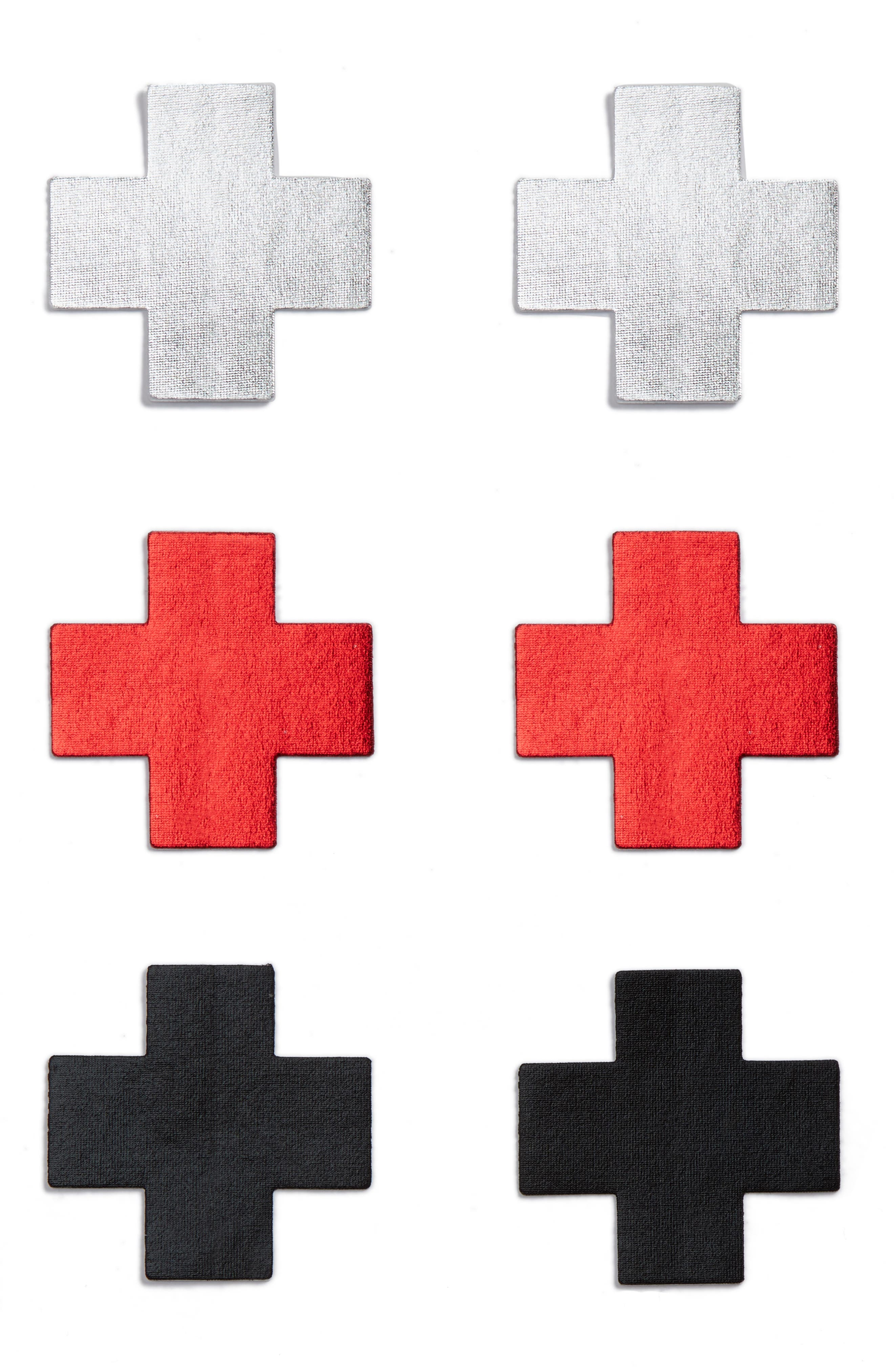 3-Pack Cross Nipple Covers,                         Main,                         color, Red/ Black/ Silver