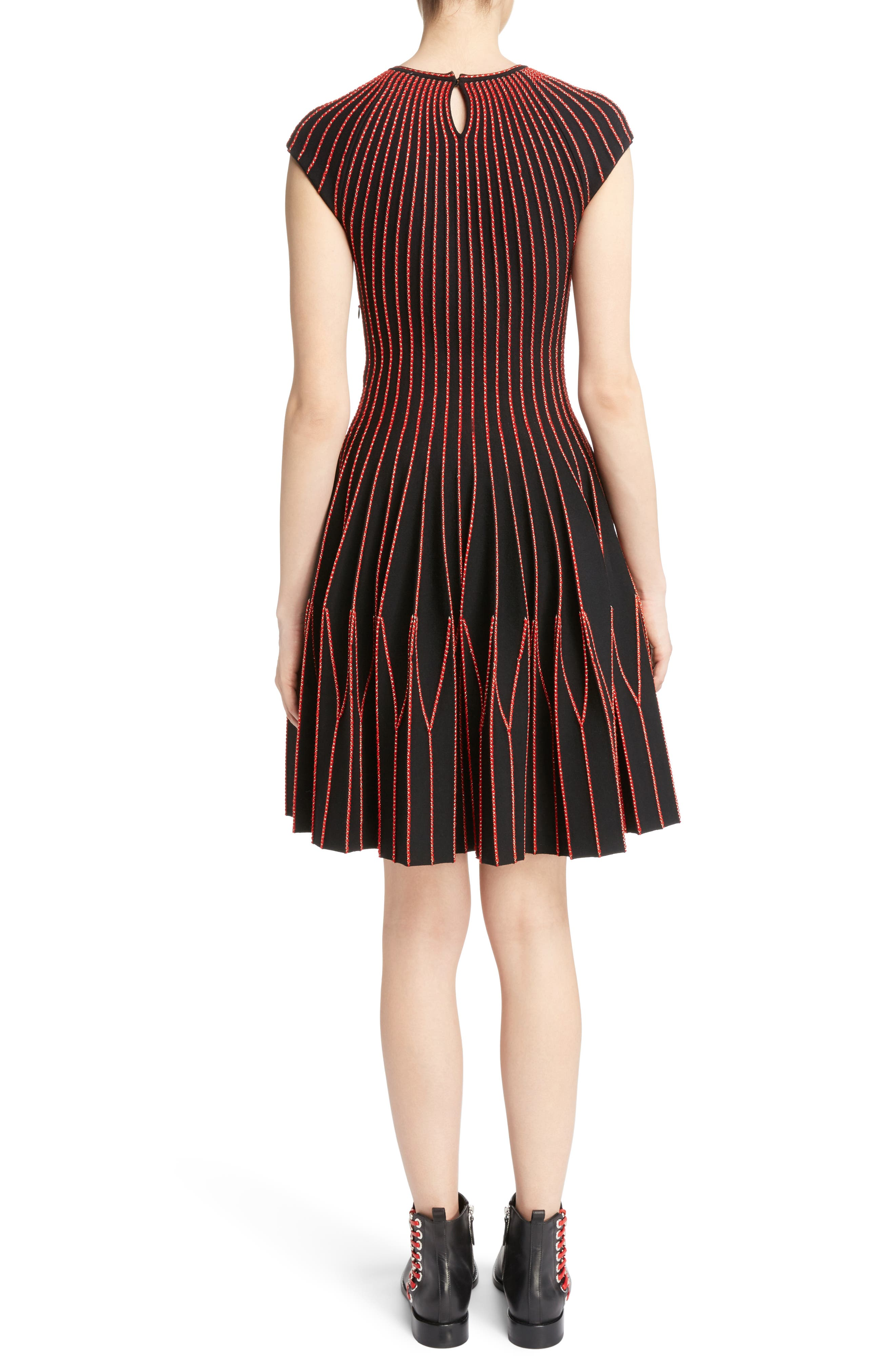 Alternate Image 2  - Alexander McQueen Metallic Wool Blend Pleat Dress