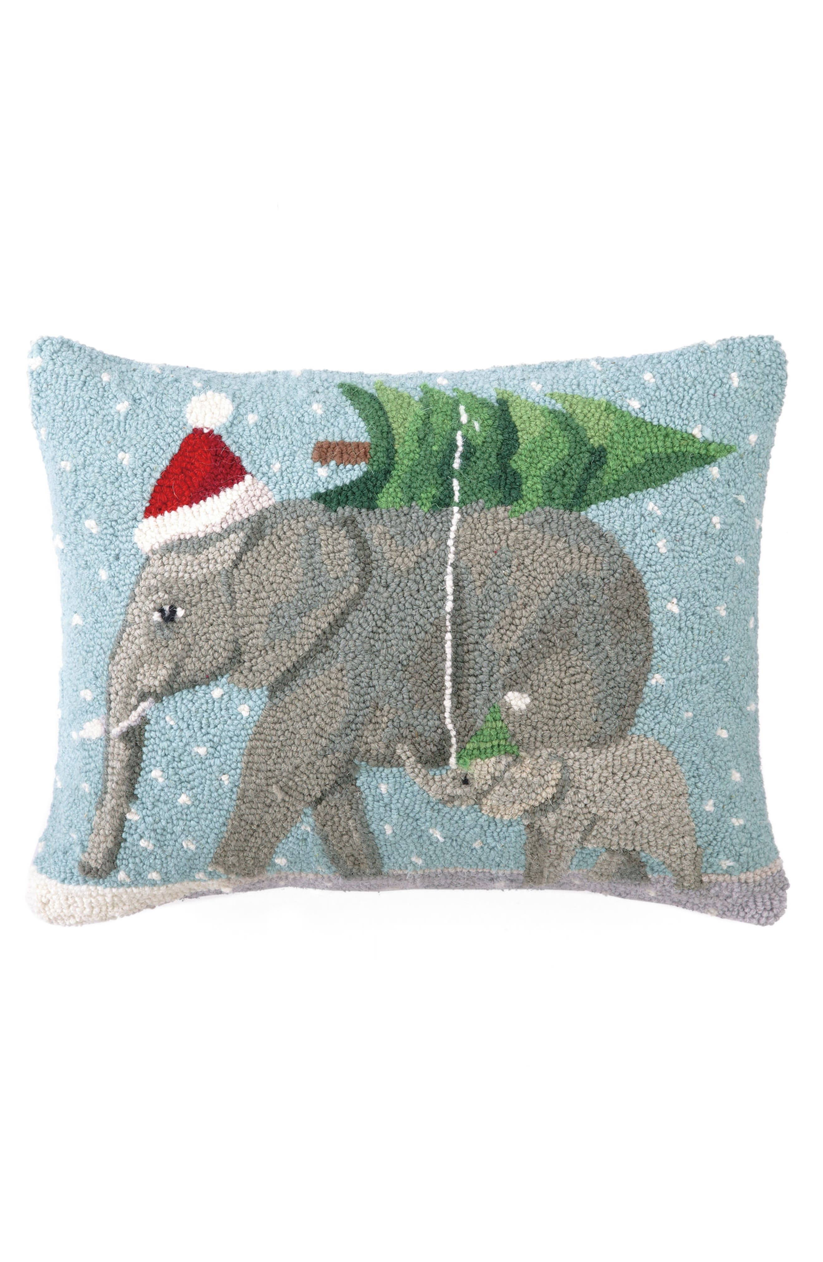 Christmas Elephants Hooked Accent Pillow,                         Main,                         color, Blue