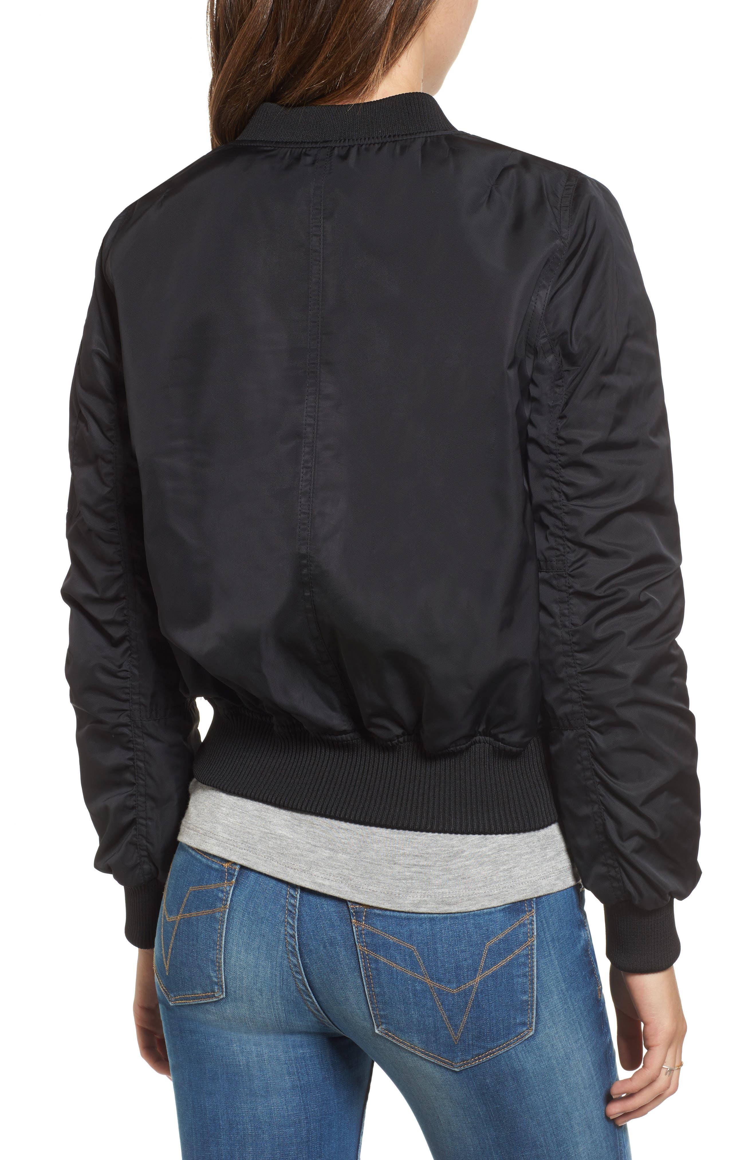 Graham Satin Bomber Jacket,                             Alternate thumbnail 2, color,                             Black