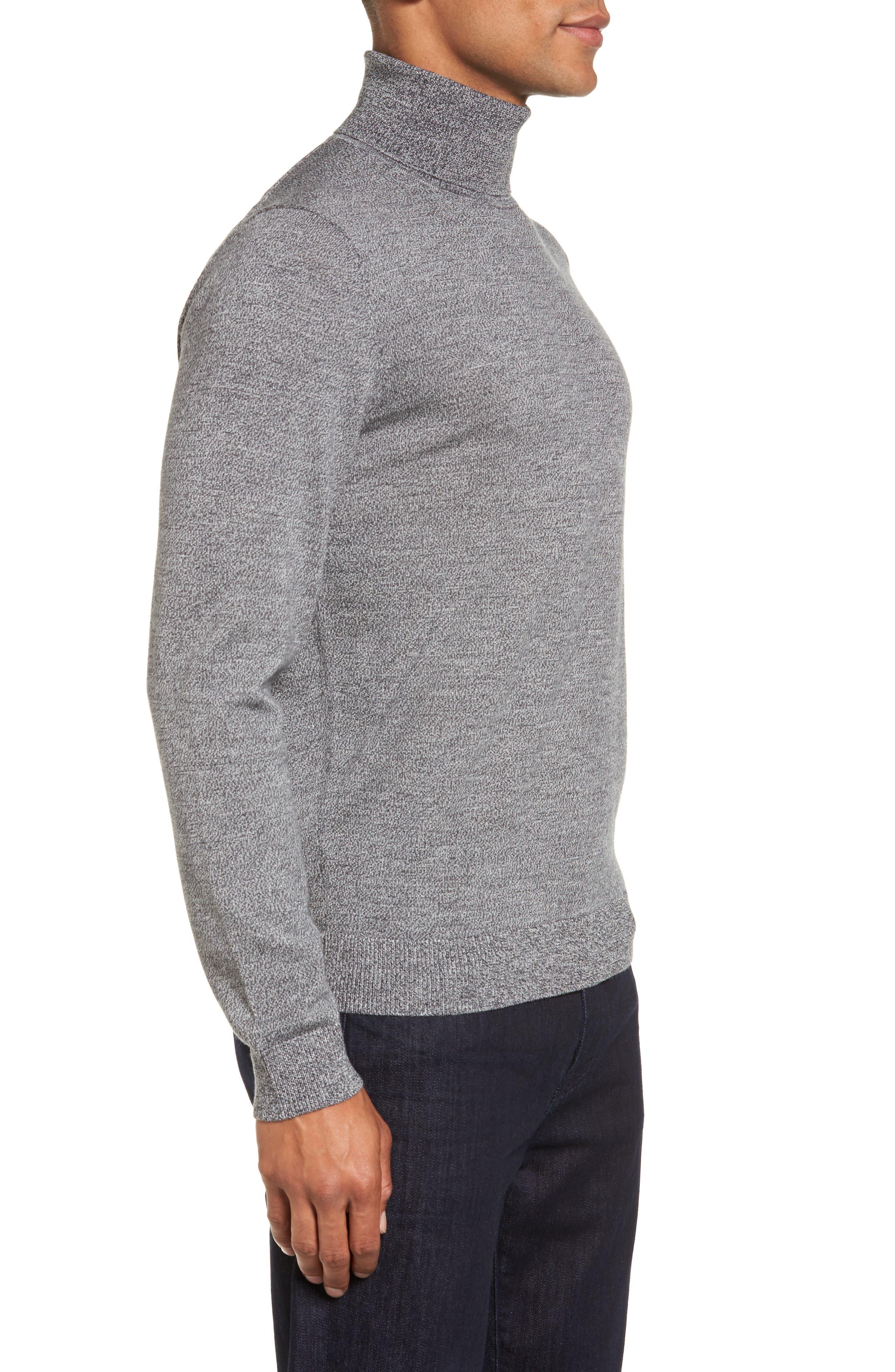 Merino Wool Turtleneck Sweater,                             Alternate thumbnail 3, color,                             Grey Shade Marl