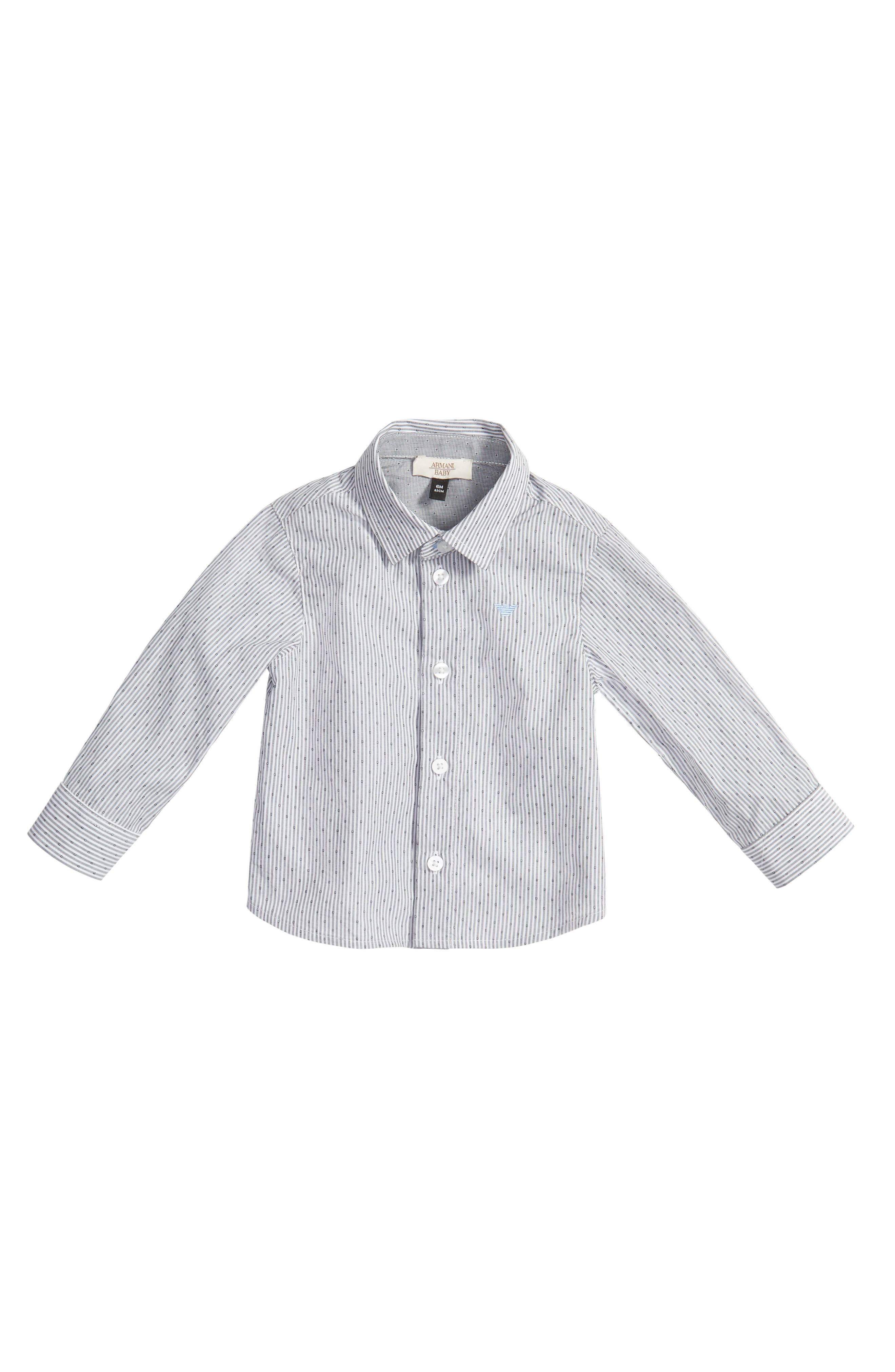 Alternate Image 1 Selected - Armani Junior Stripe Dress Shirt (Baby Boys)