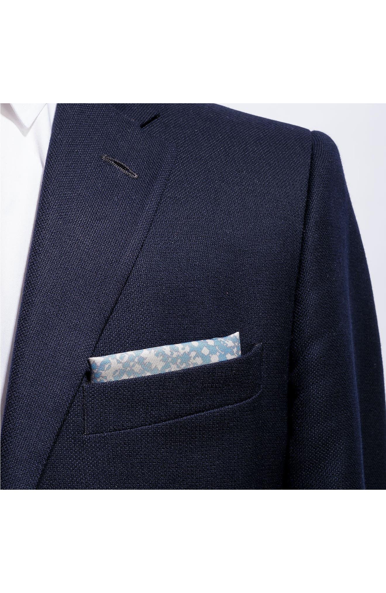 Batik Patterned Silk Pocket Square,                             Alternate thumbnail 3, color,                             Blue