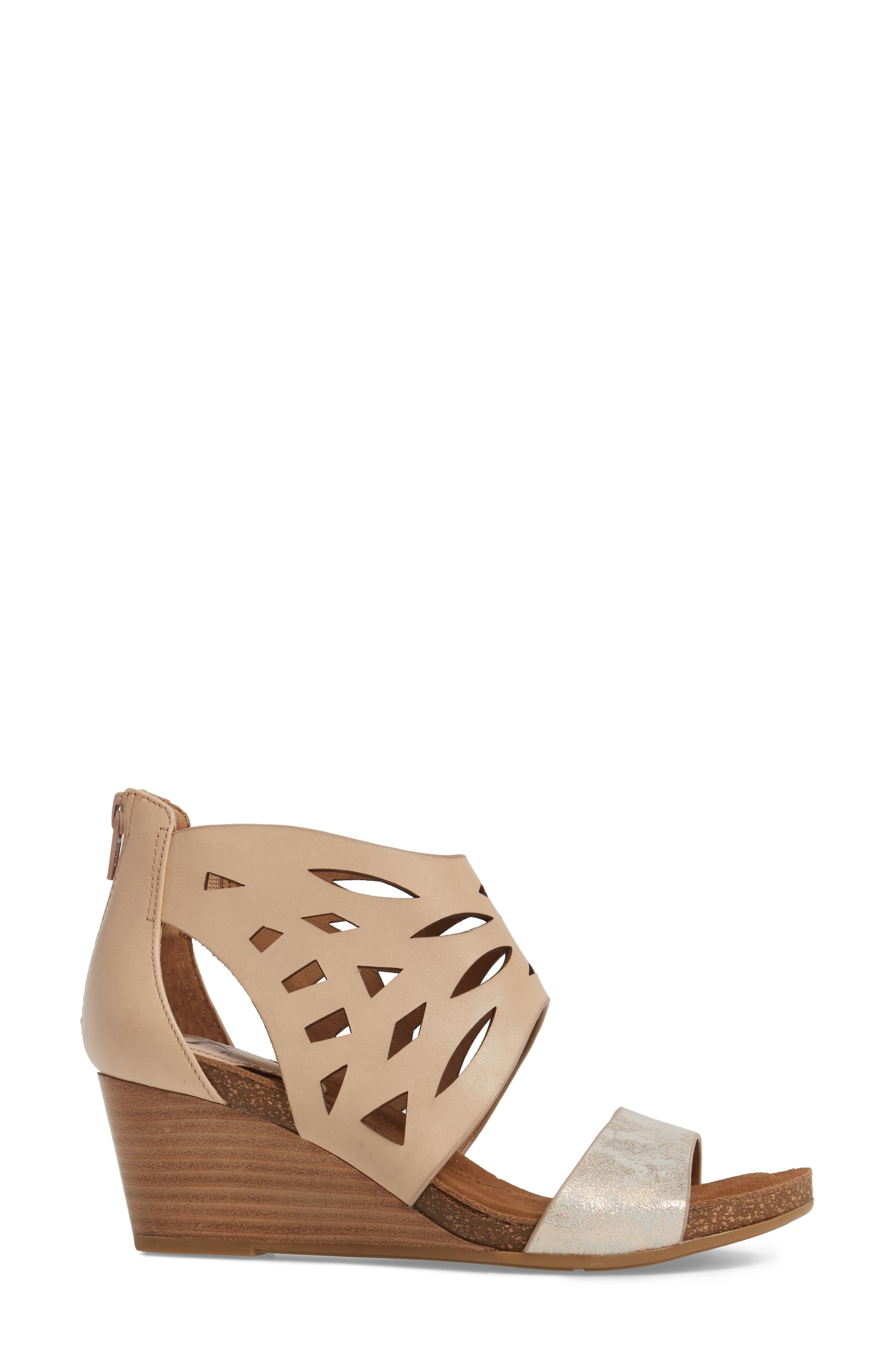 Mystic Perforated Wedge Sandal,                             Alternate thumbnail 3, color,                             Blush/ Ivory Leather