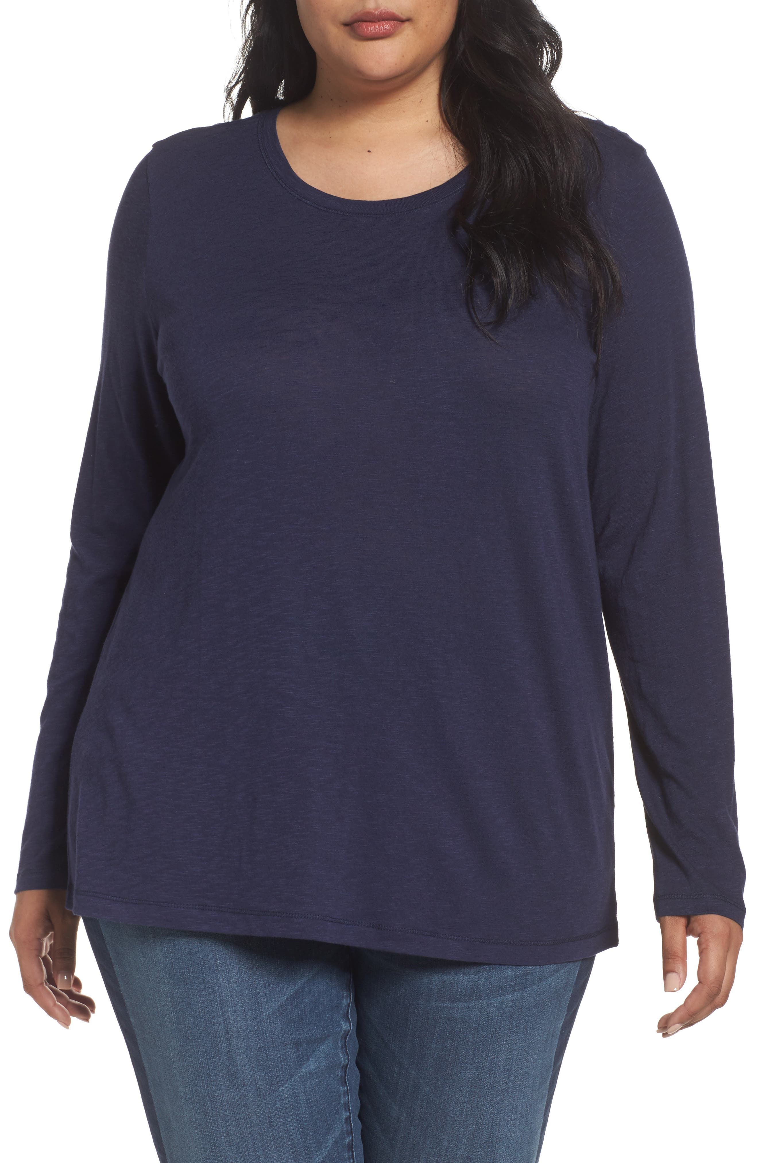 Alternate Image 1 Selected - Caslon® Long Sleeve Crewneck Tee (Plus Size)