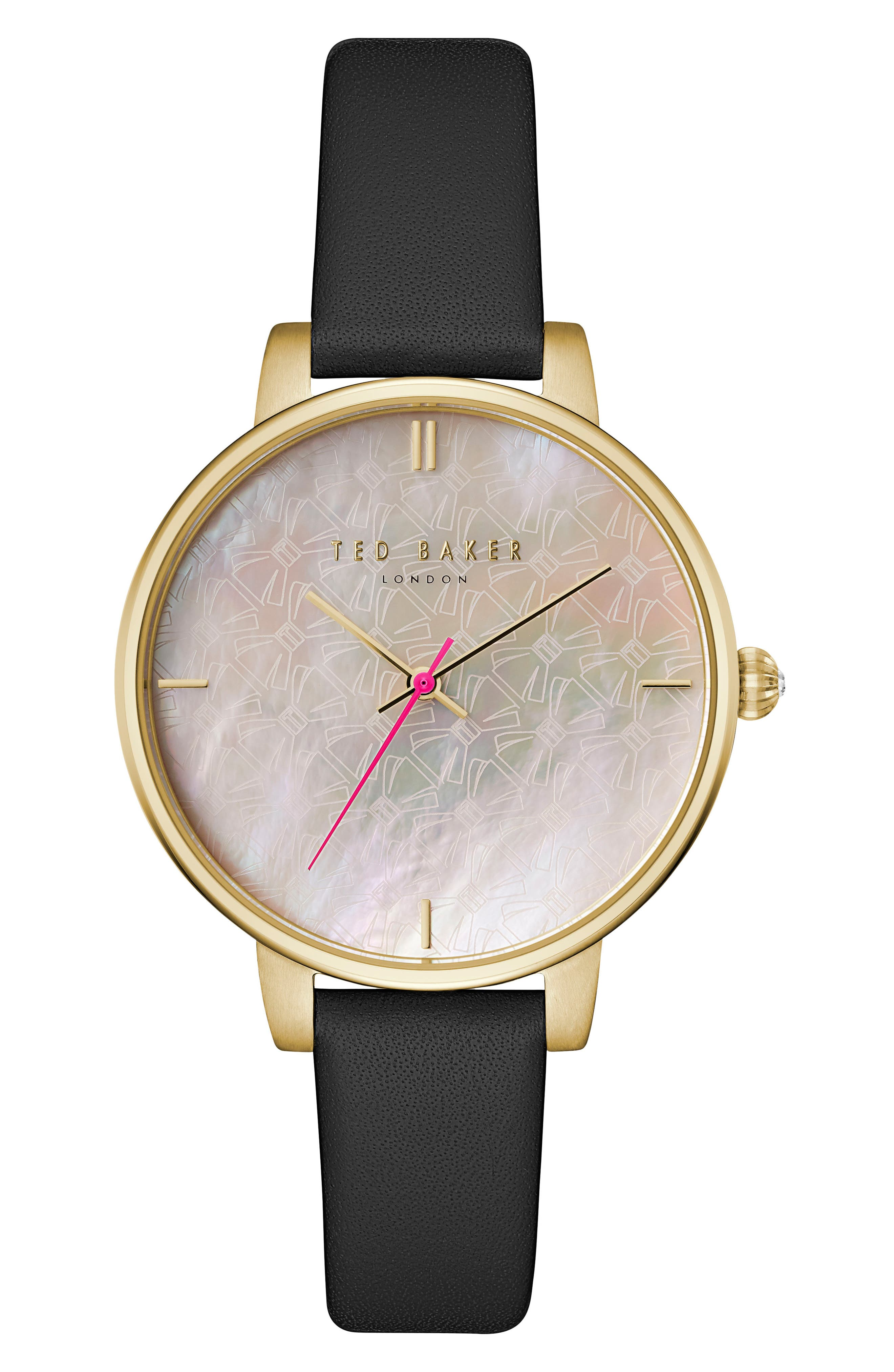 Kate Leather Strap watch, 38mm,                         Main,                         color, Black/ Mother Of Pearl/ Gold