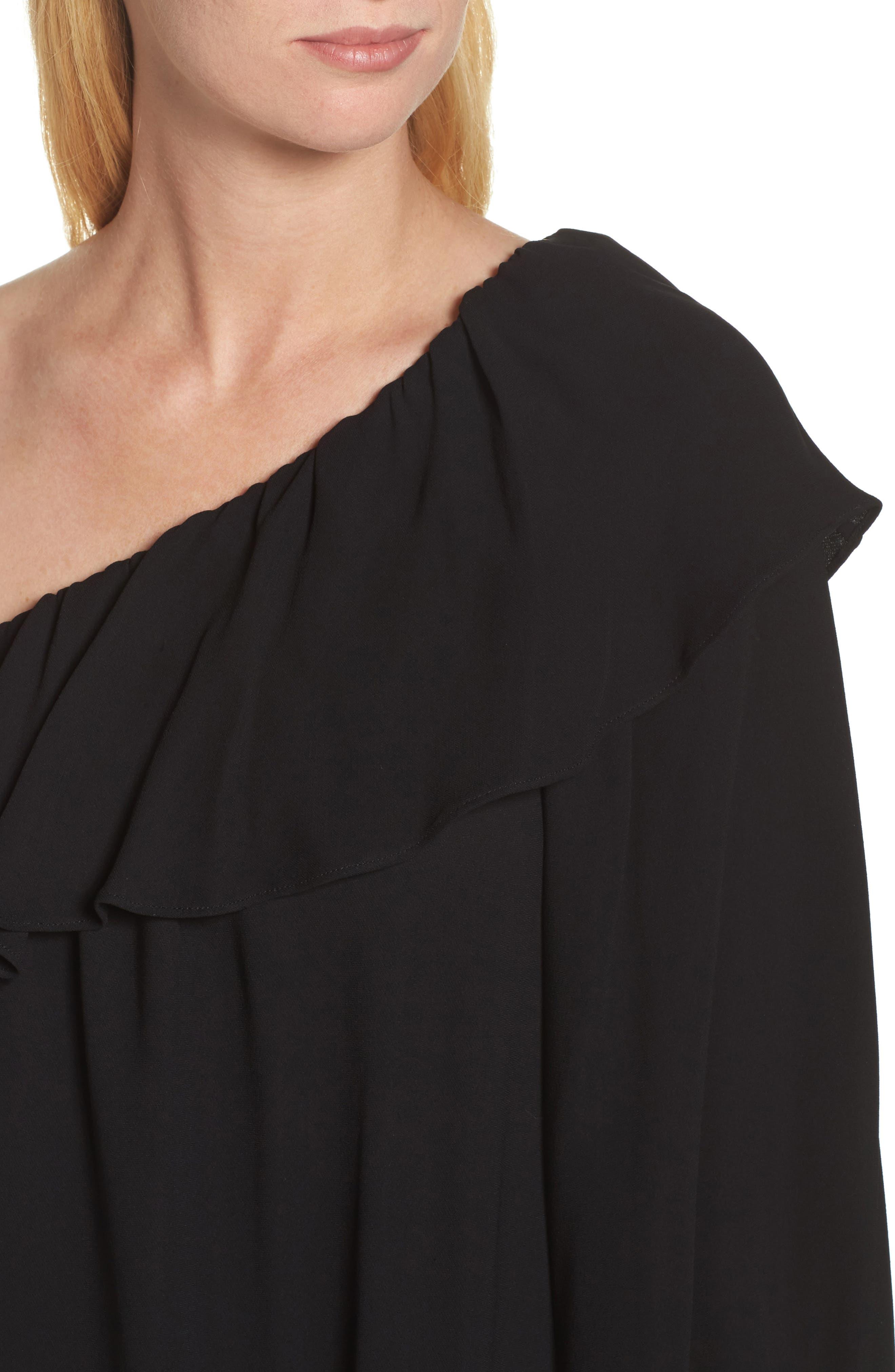 Evening Dew One-Shoulder Dress,                             Alternate thumbnail 4, color,                             Black