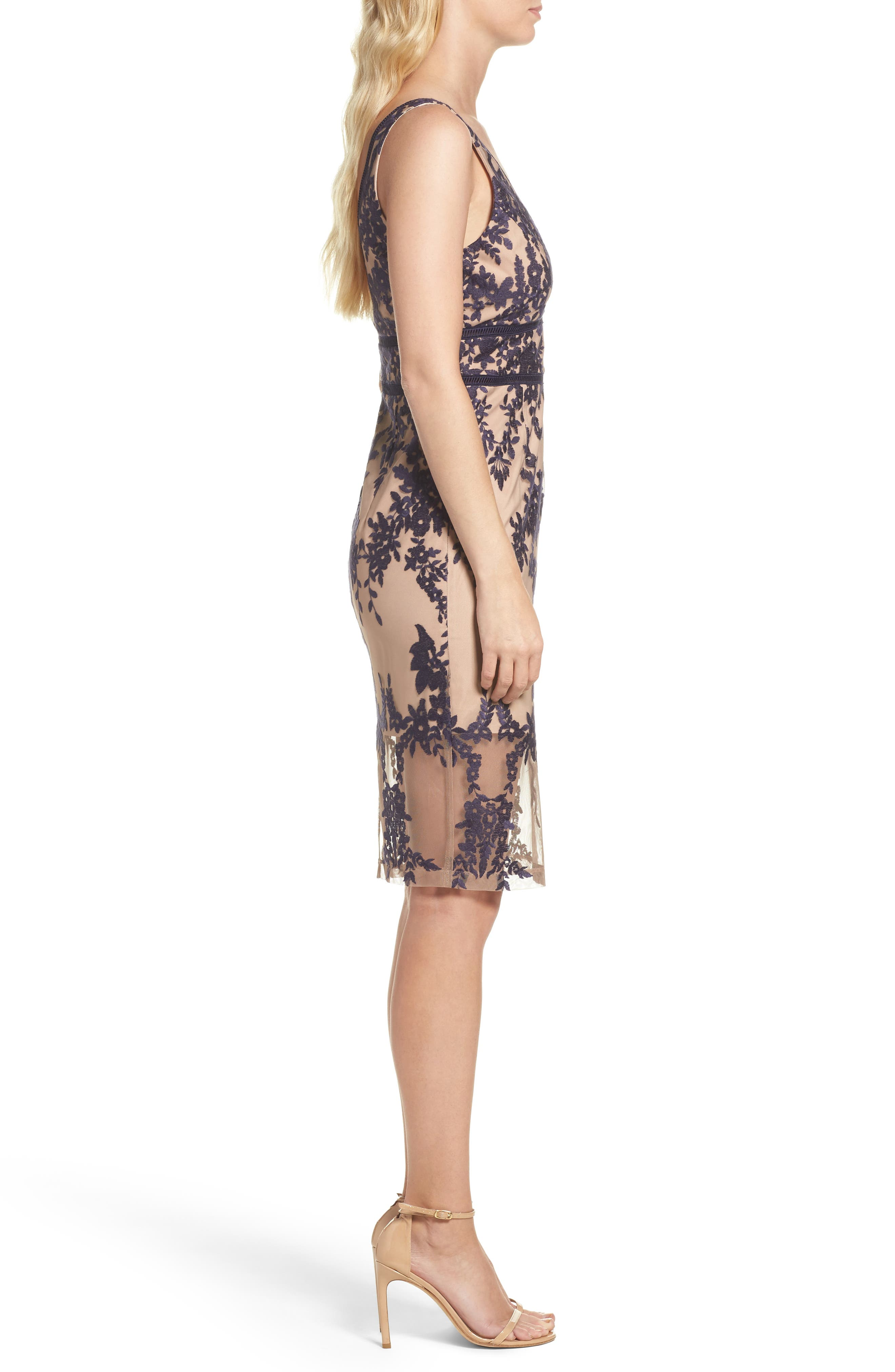 Flora Embroidered Sheath Dress,                             Alternate thumbnail 3, color,                             French Navy